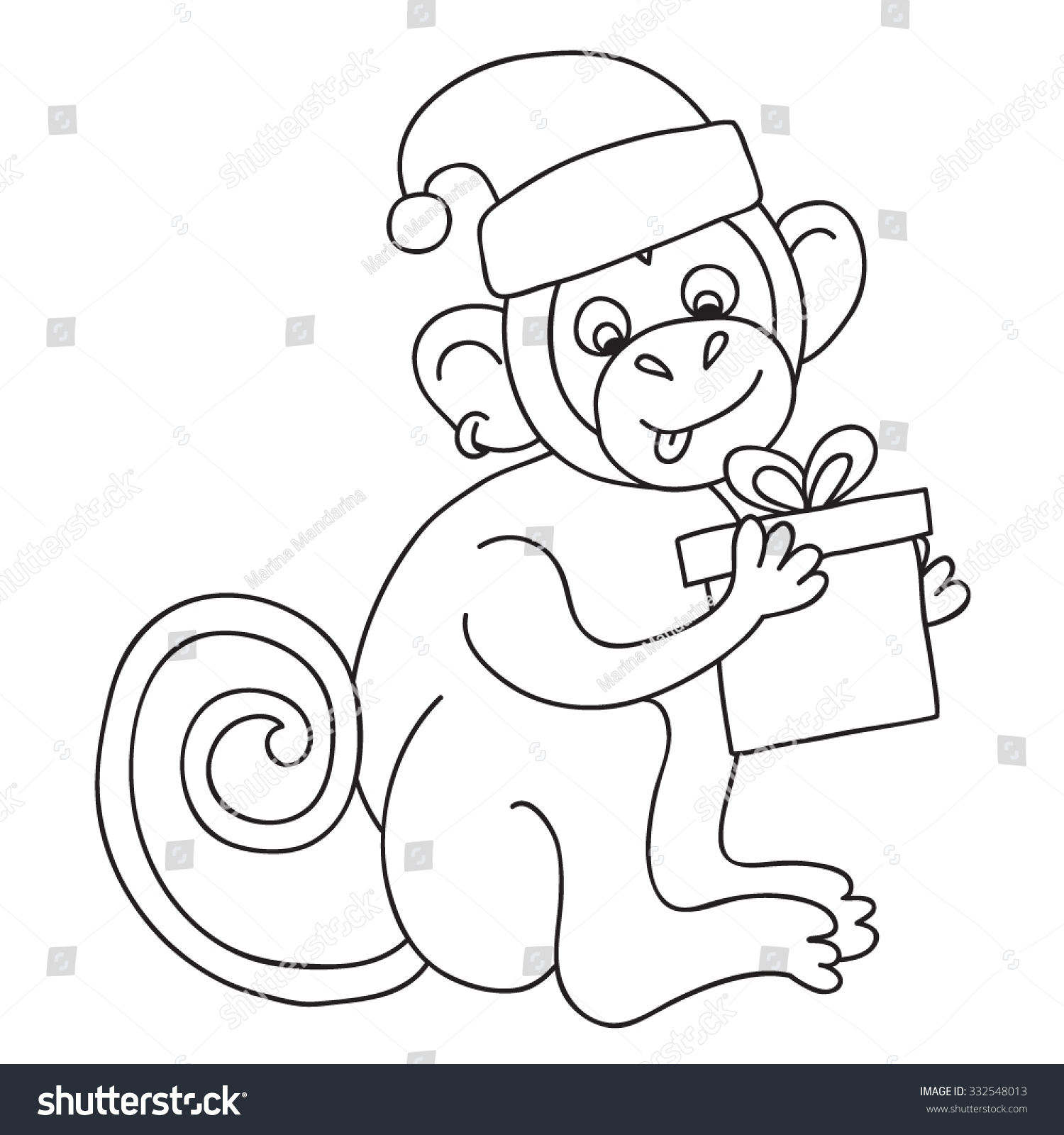 Vector Funny Monkey Illustration Coloring Page Of Happy