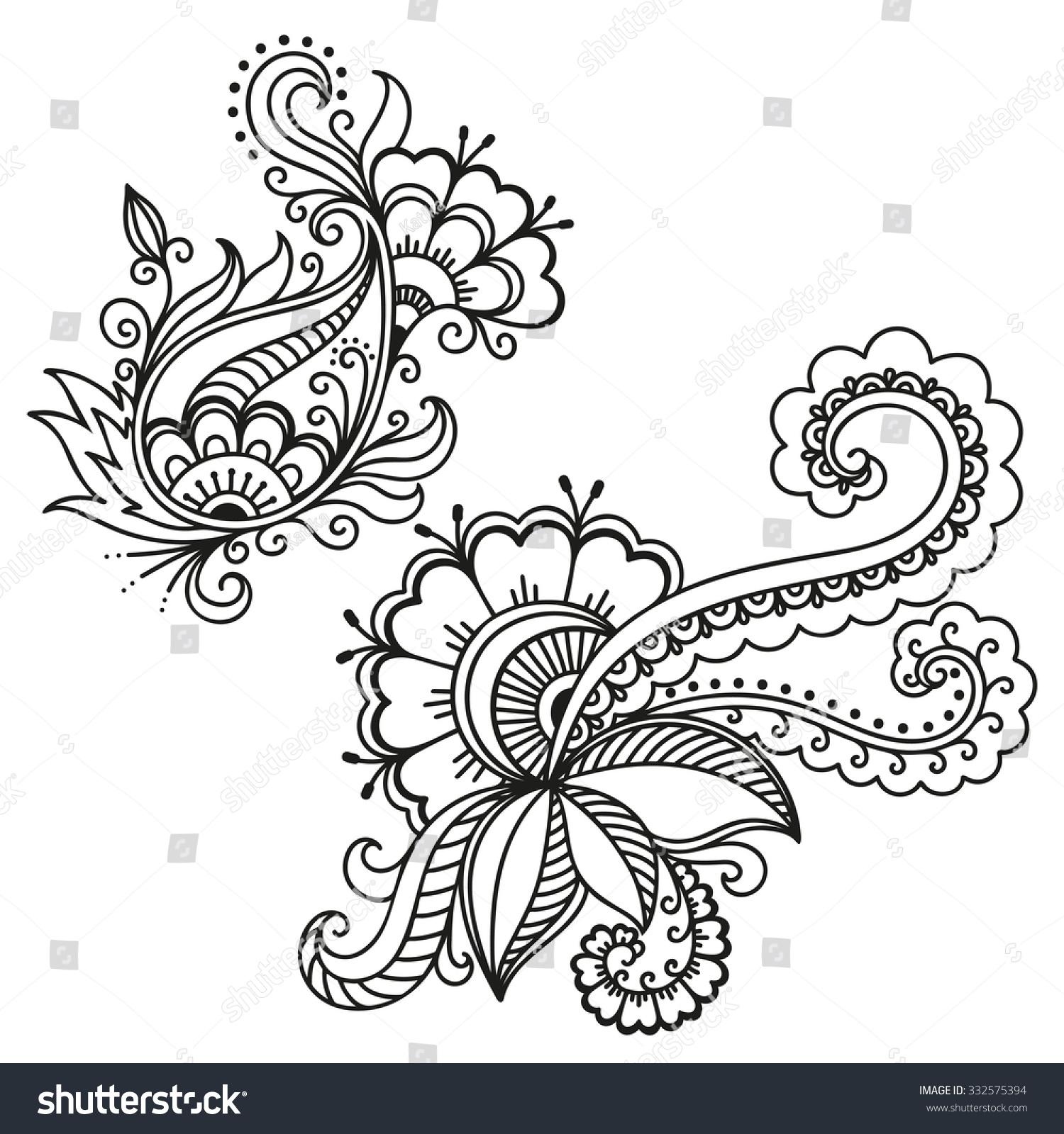 Henna Tattoo Vector: Henna Tattoo Flower Template.Mehndi. Stock Vector