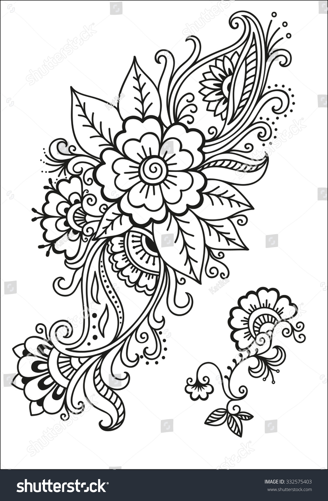 Henna Tattoo Flower Template In Indian Style: Henna Tattoo Flower Template.Mehndi. Stock Vector