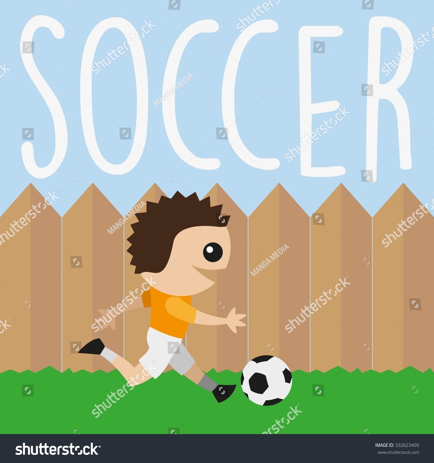 kid cartoon playing soccer backyard stock vector 332623409