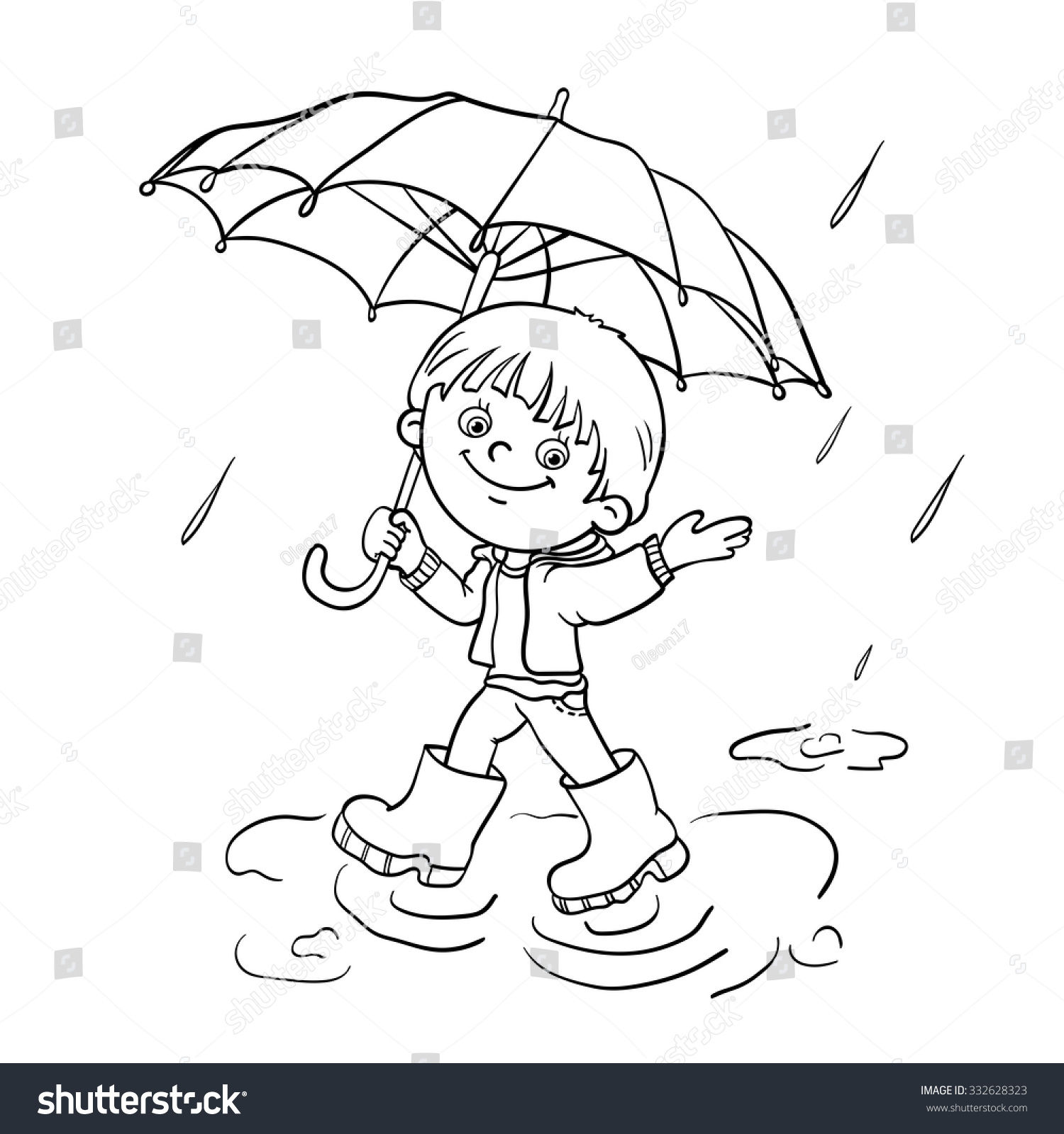 coloring page outline cartoon joyful boy stock vector 332628323