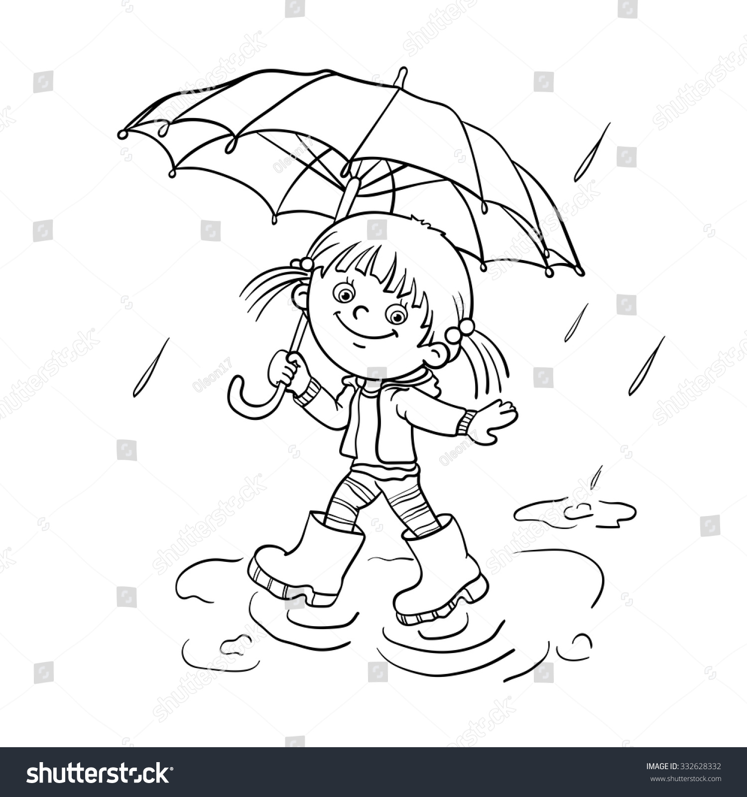 Free coloring pages rain - Free Coloring Pages Umbrella Coloring Page Outline Of A Cartoon Joyful Girl Walking In The