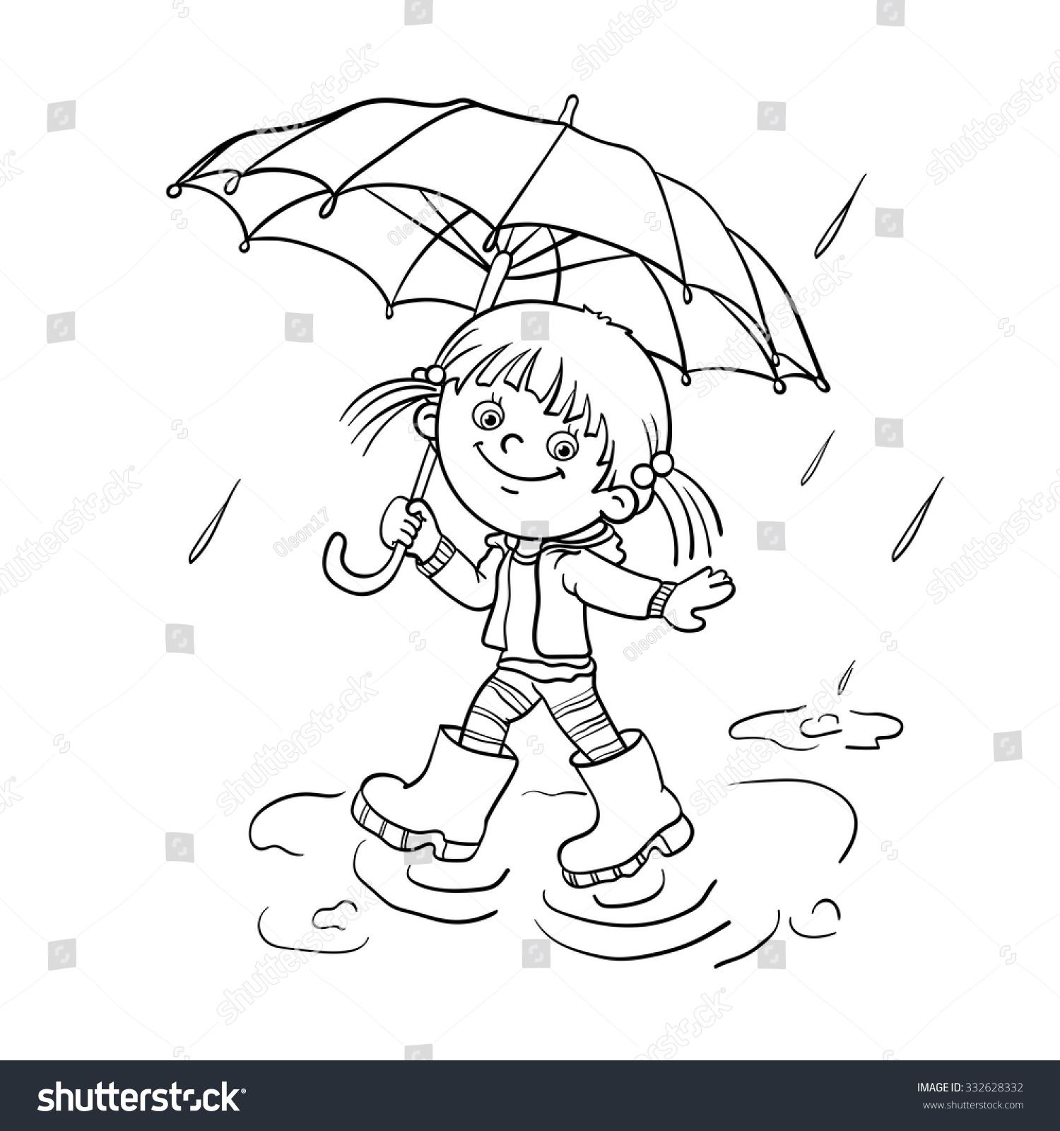 Раскраска девочка с зонтиком - 9