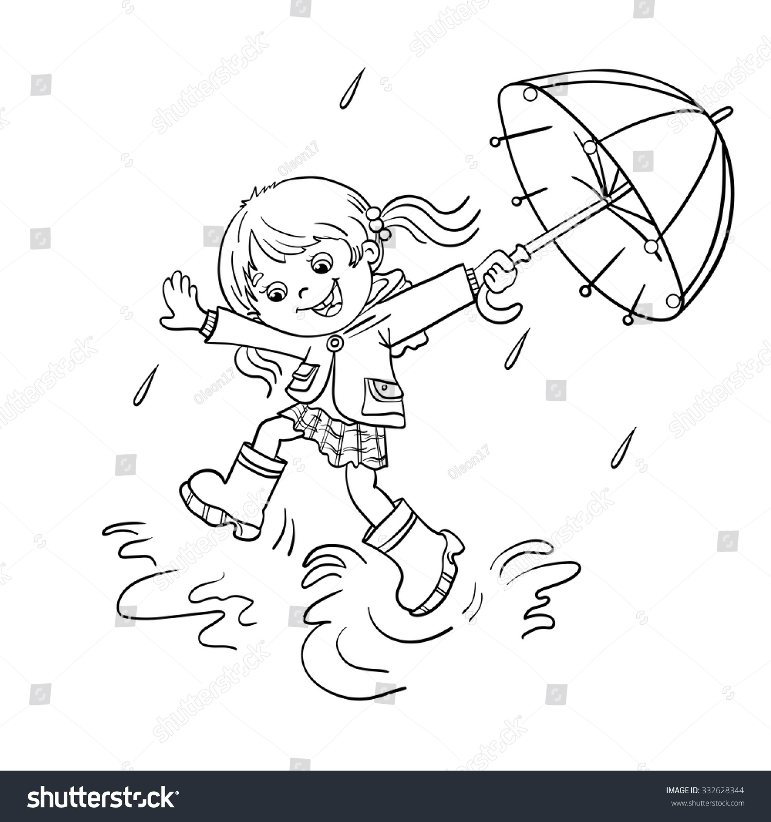 coloring page outline cartoon joyful stock vector 332628344