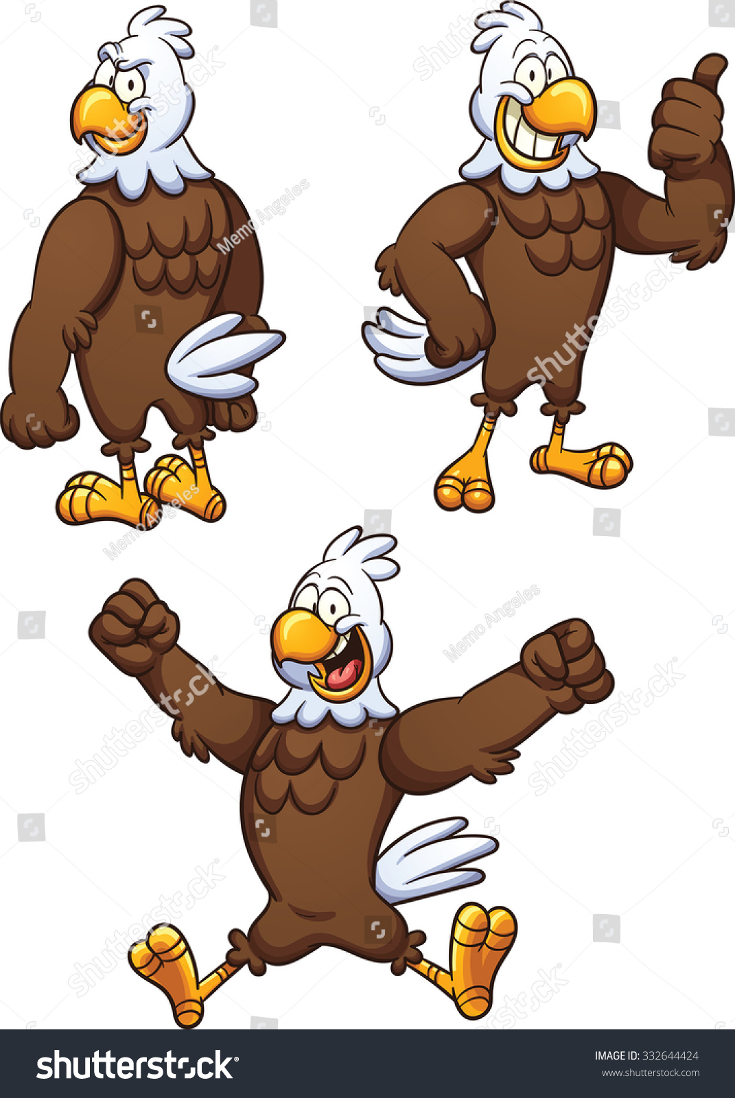 Cartoon Eagle In Different Poses. Vector Clip Art Illustration ...