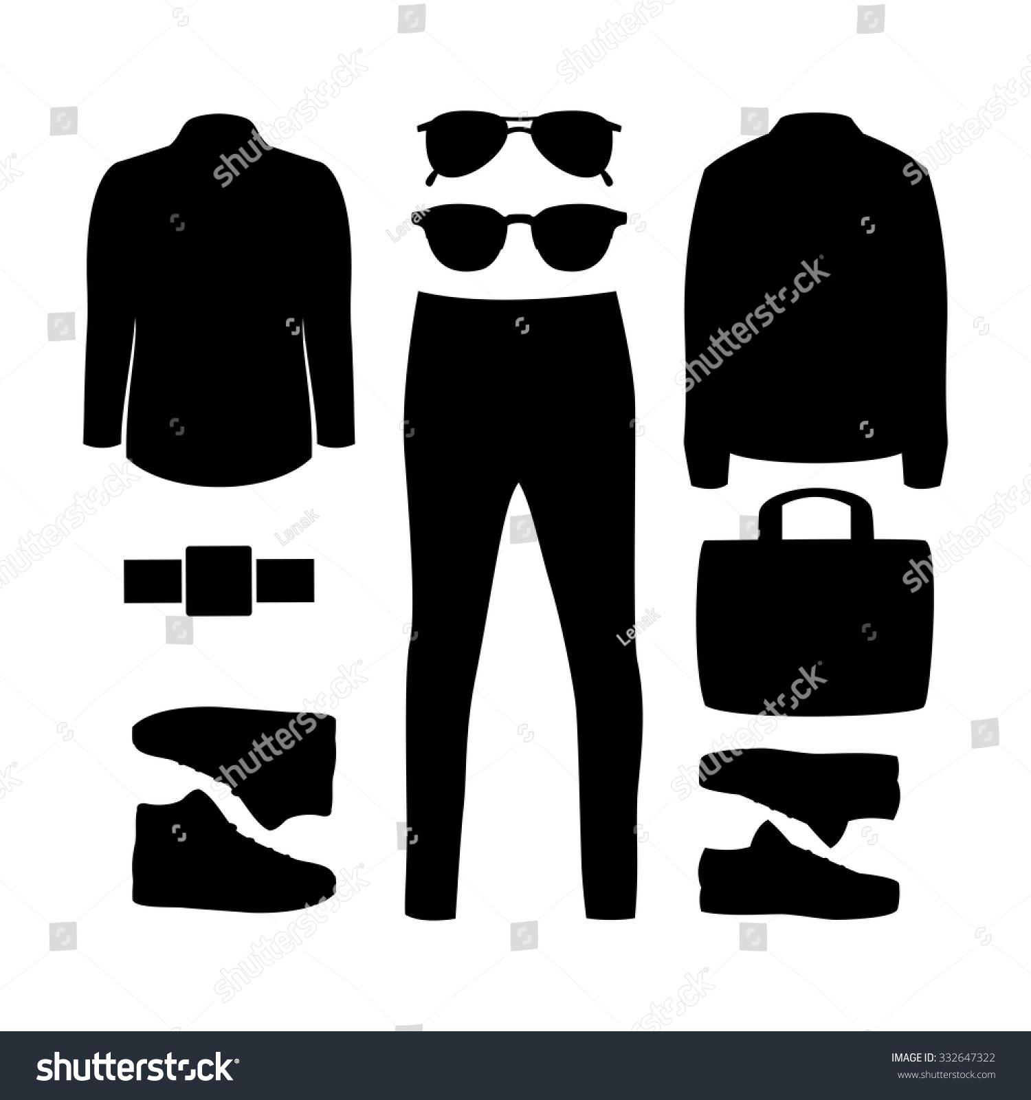 be4ec9f7e95 Stock vector set of black silhouette trendy men clothes and accessories men  wardrobe vector illustration jpg