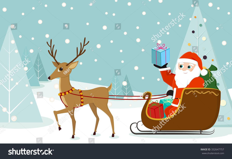 cute reindeer pulling santa claus sleigh stock vector royalty free