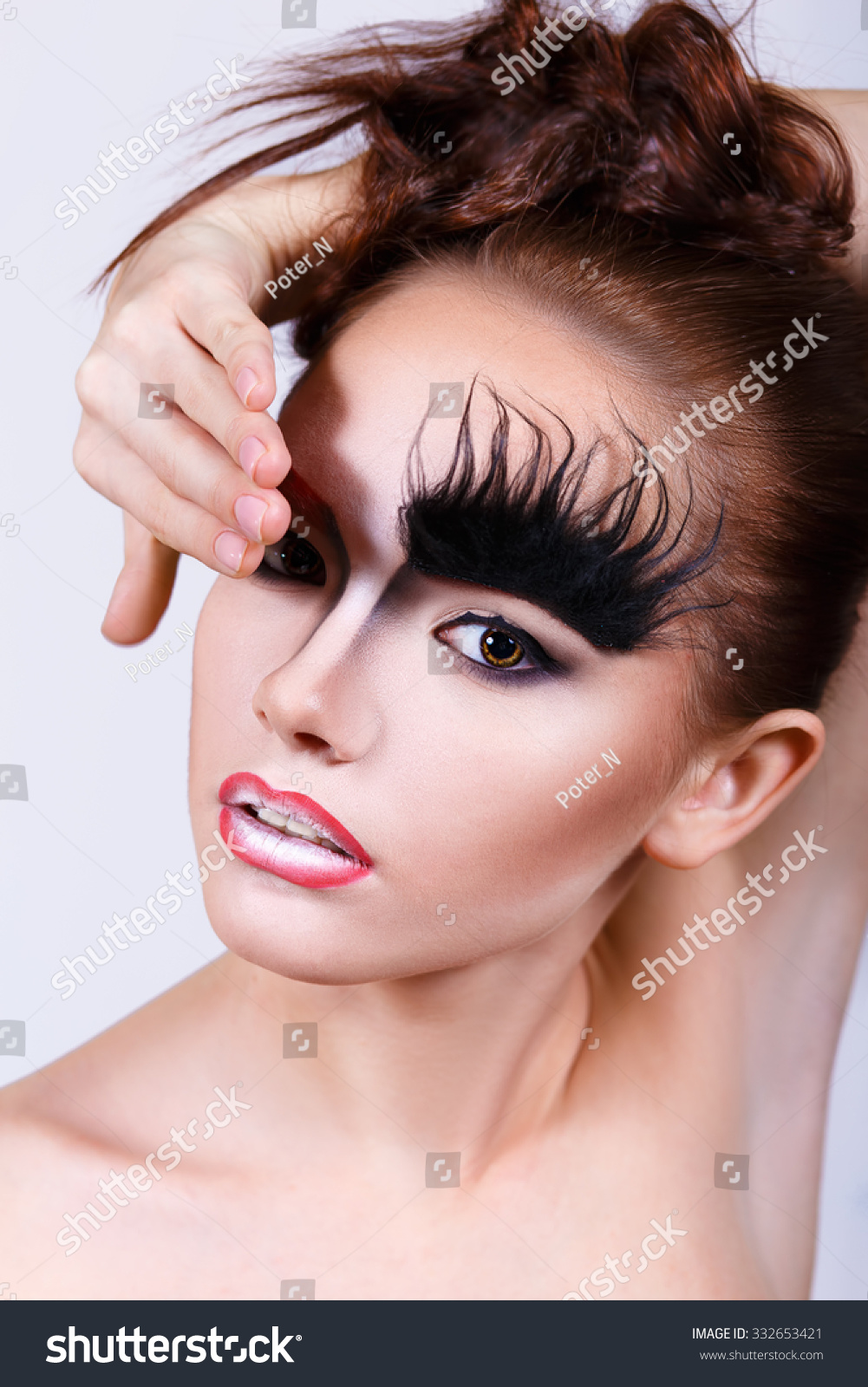 Girl Unusual Makeup Bushy Eyebrows Makeup Stock Photo Edit Now