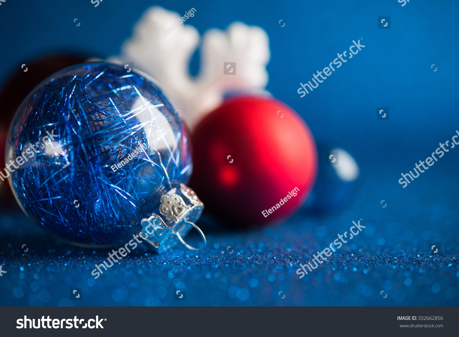 White Silver Red Christmas Ornaments On Stock Photo