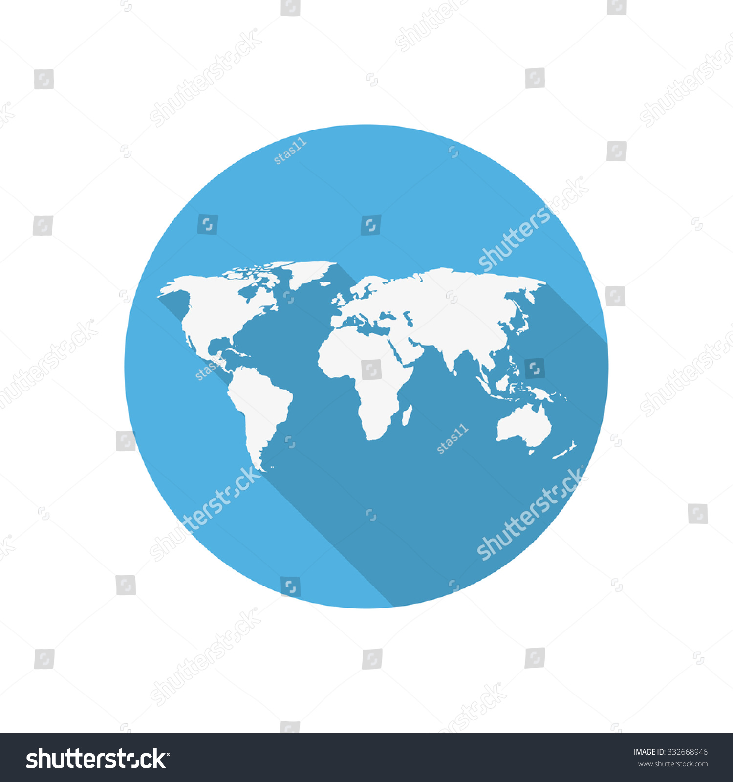 Icon world map on blue circle vectores en stock 332668946 shutterstock icon world map on a blue circle in a flat design gumiabroncs Gallery