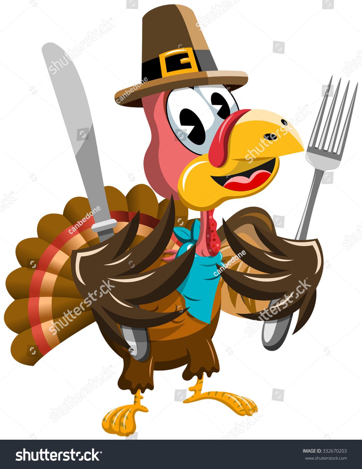 thanksgiving cartoon turkey holding fork knife stock vector