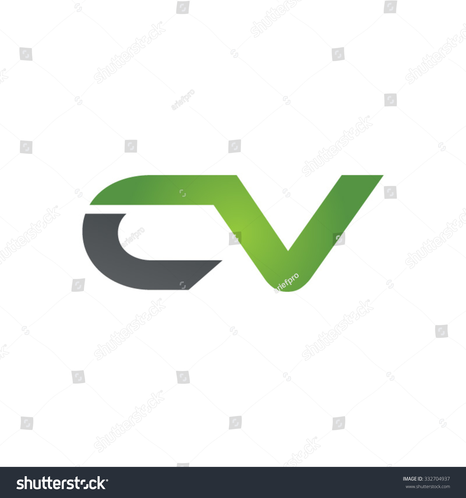 cv company linked letter logo green stock vector