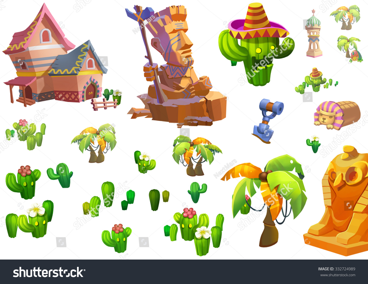 illustration desert theme elements design game assets the house the tree