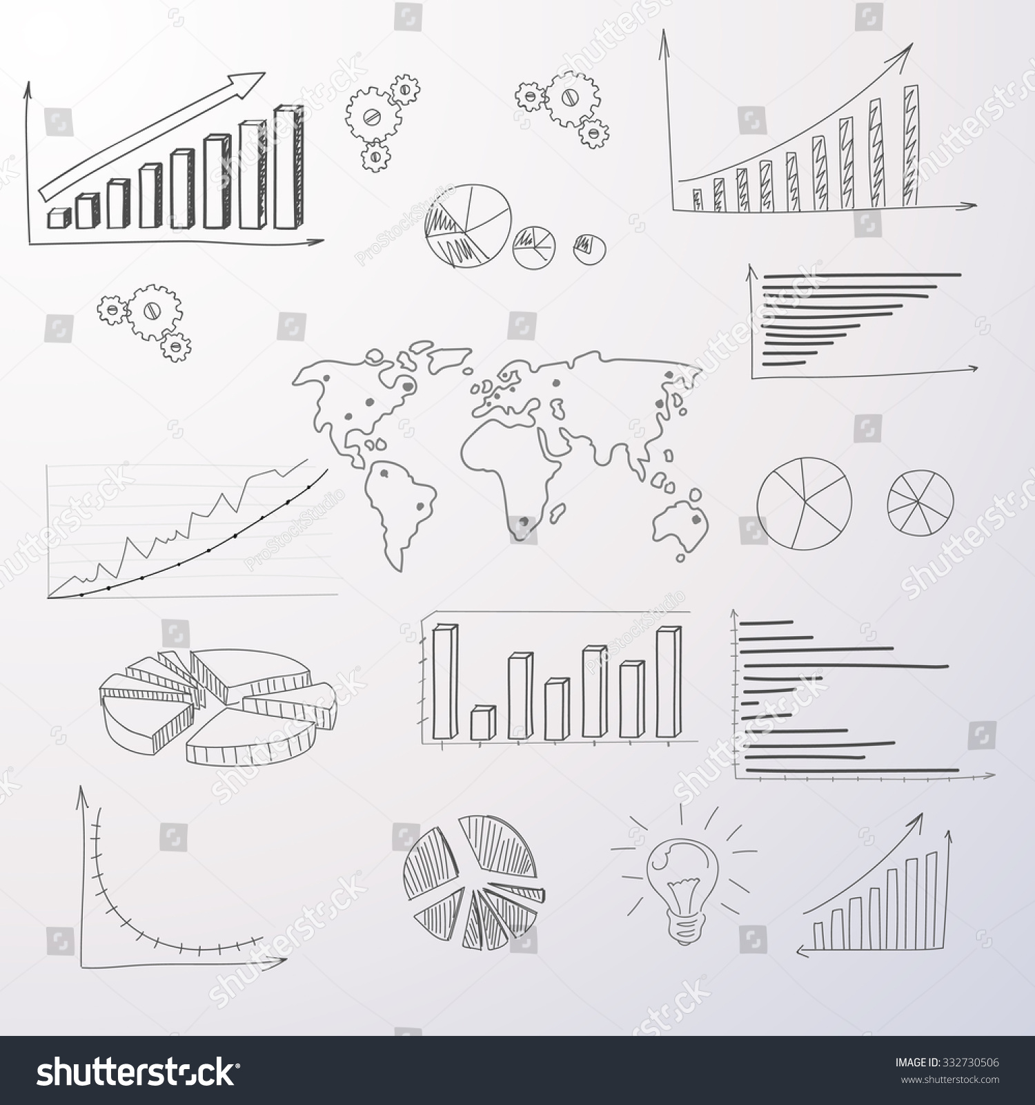 Finance Graph: Graph Set Finance Diagram Infographic Hand Stock Vector