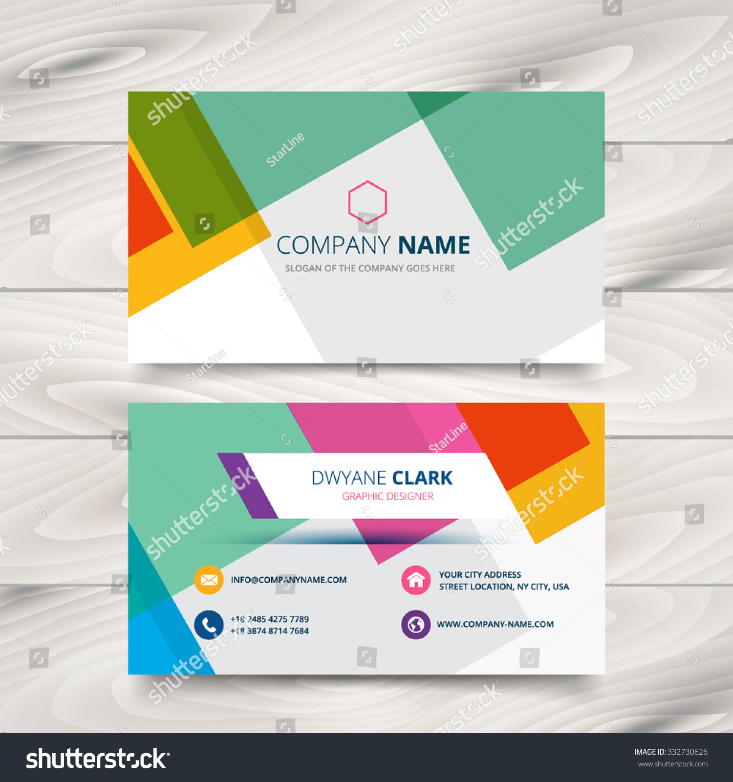 Modern Colorful Business Card Template Design Stock Vector ...