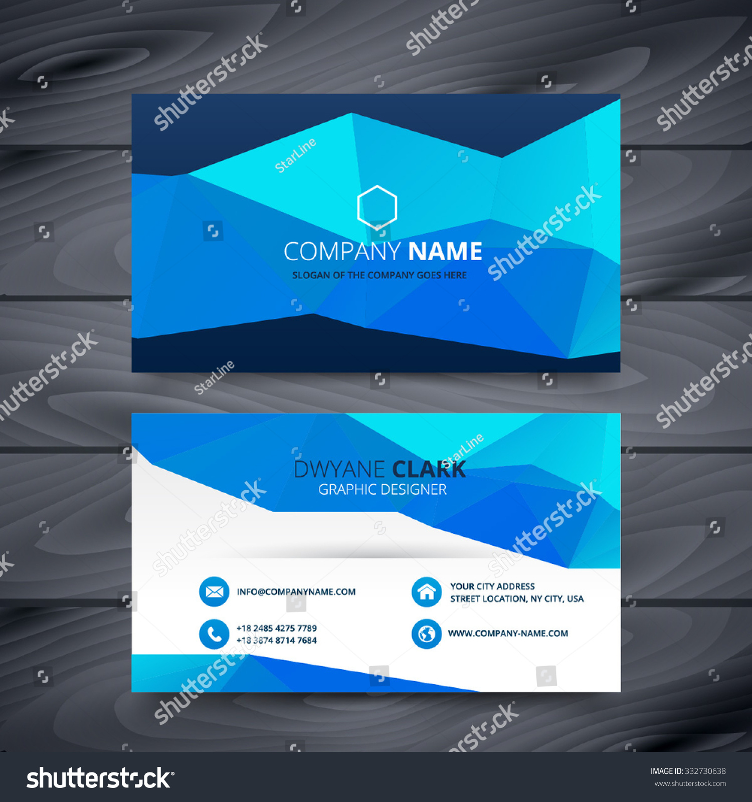 Blue Business Card Template Design Stock Vector 332730638 ...