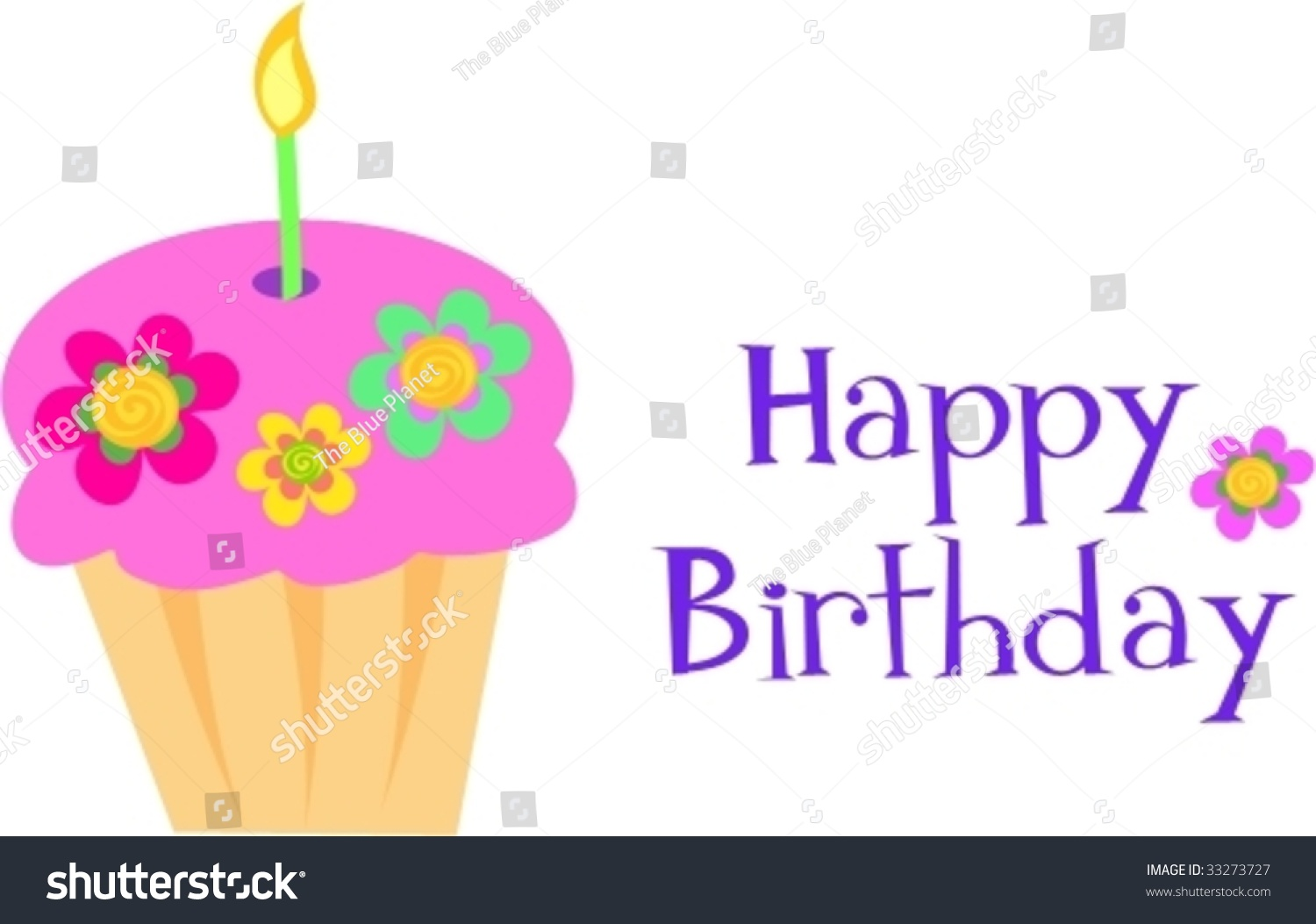 Happy Birthday Flower Cupcake Vector Stock Vector Royalty Free