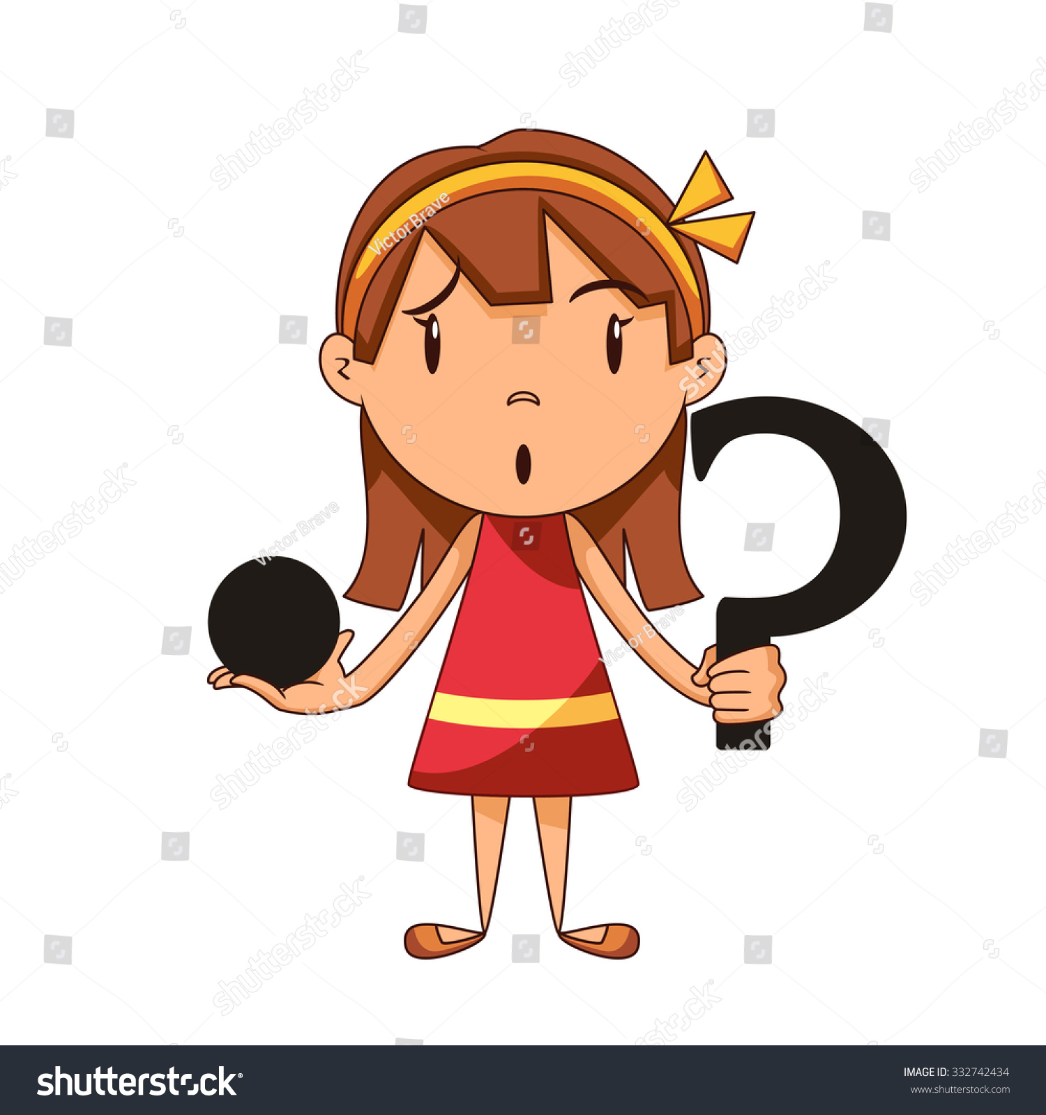 Confused Girl Riddle Vector Illustration Stock Vector