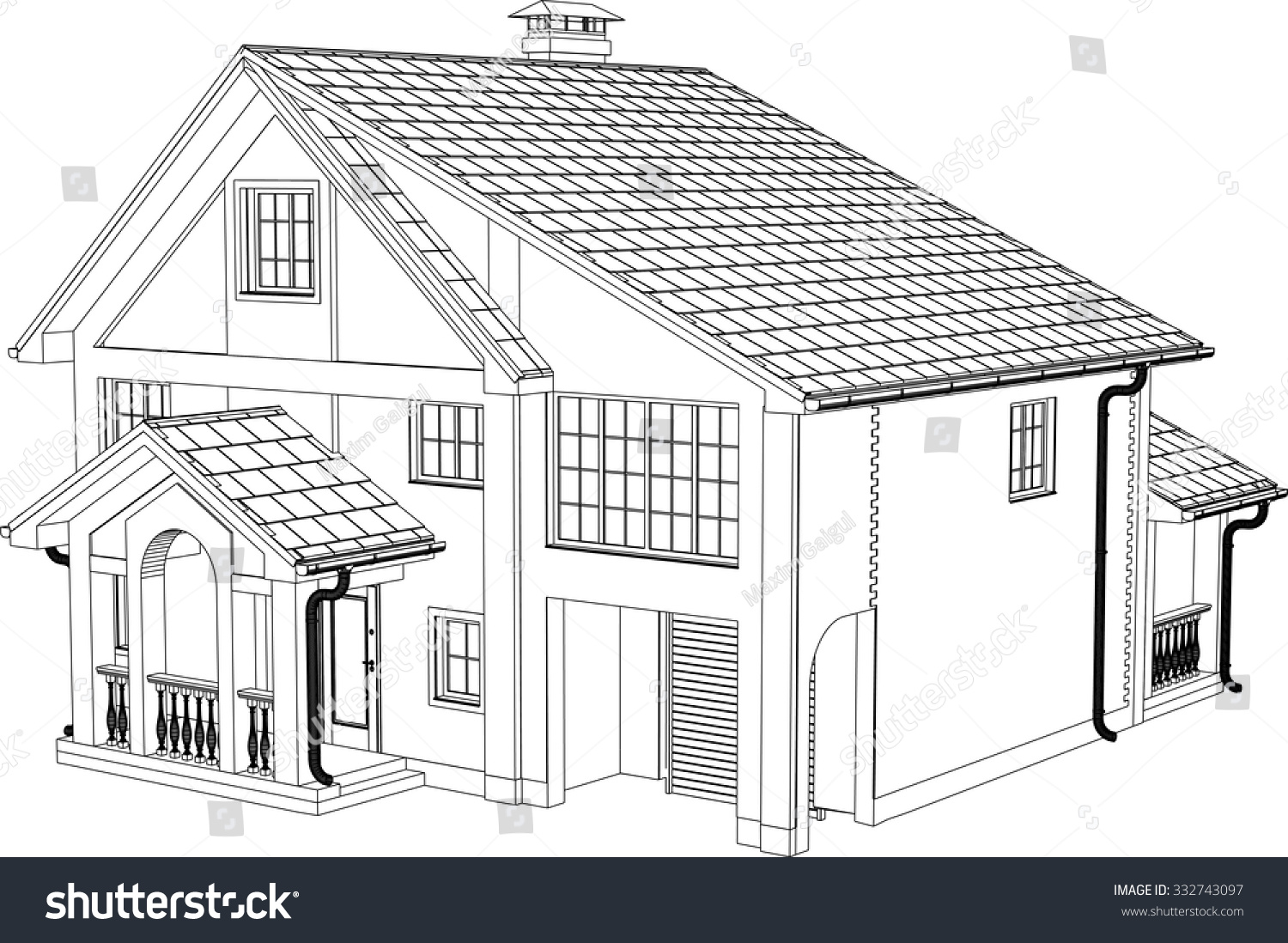 House drawing vector contours house stock vector 332743097 for Draw your house