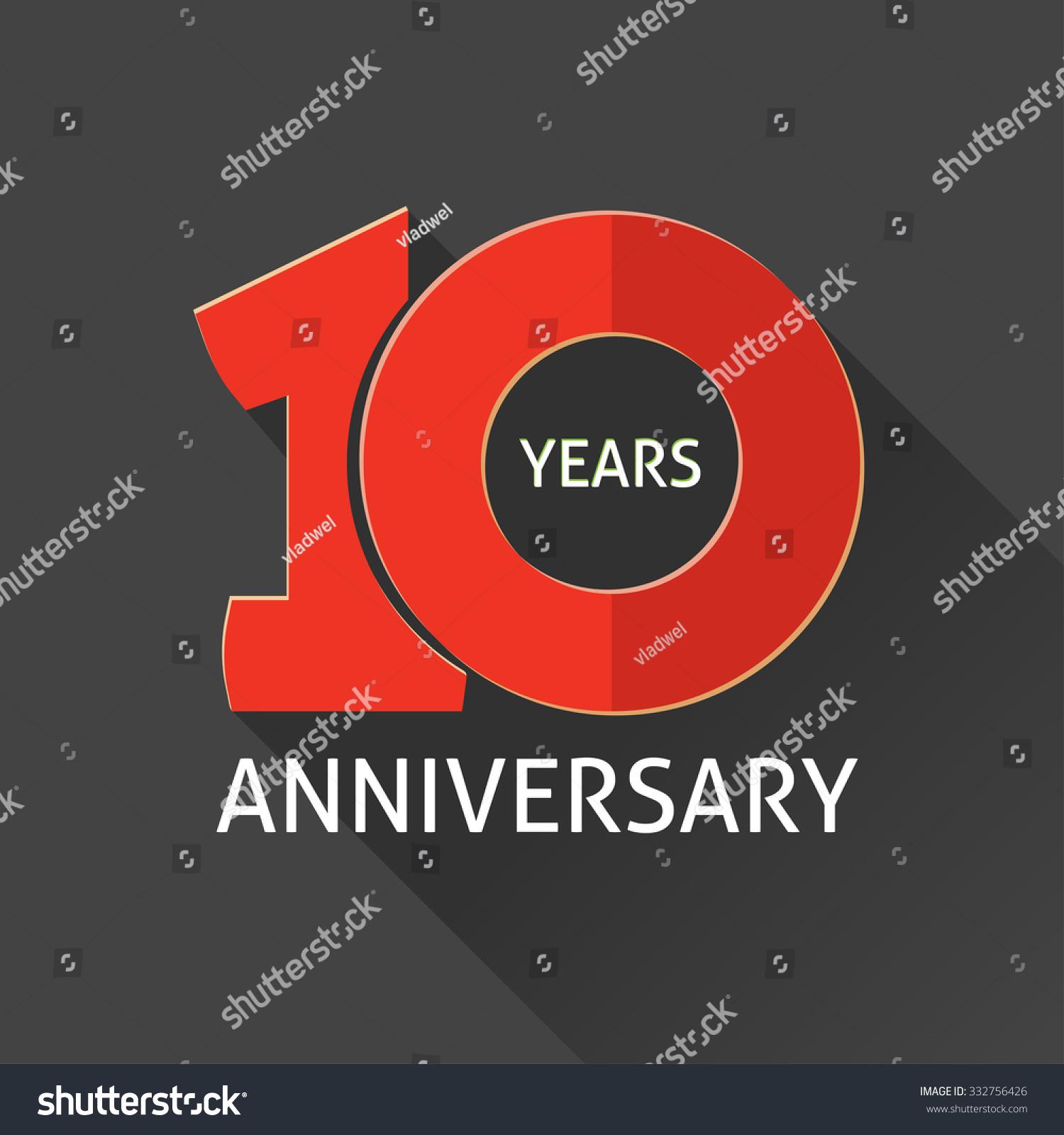 10th anniversary logo template shadow on のベクター画像素材