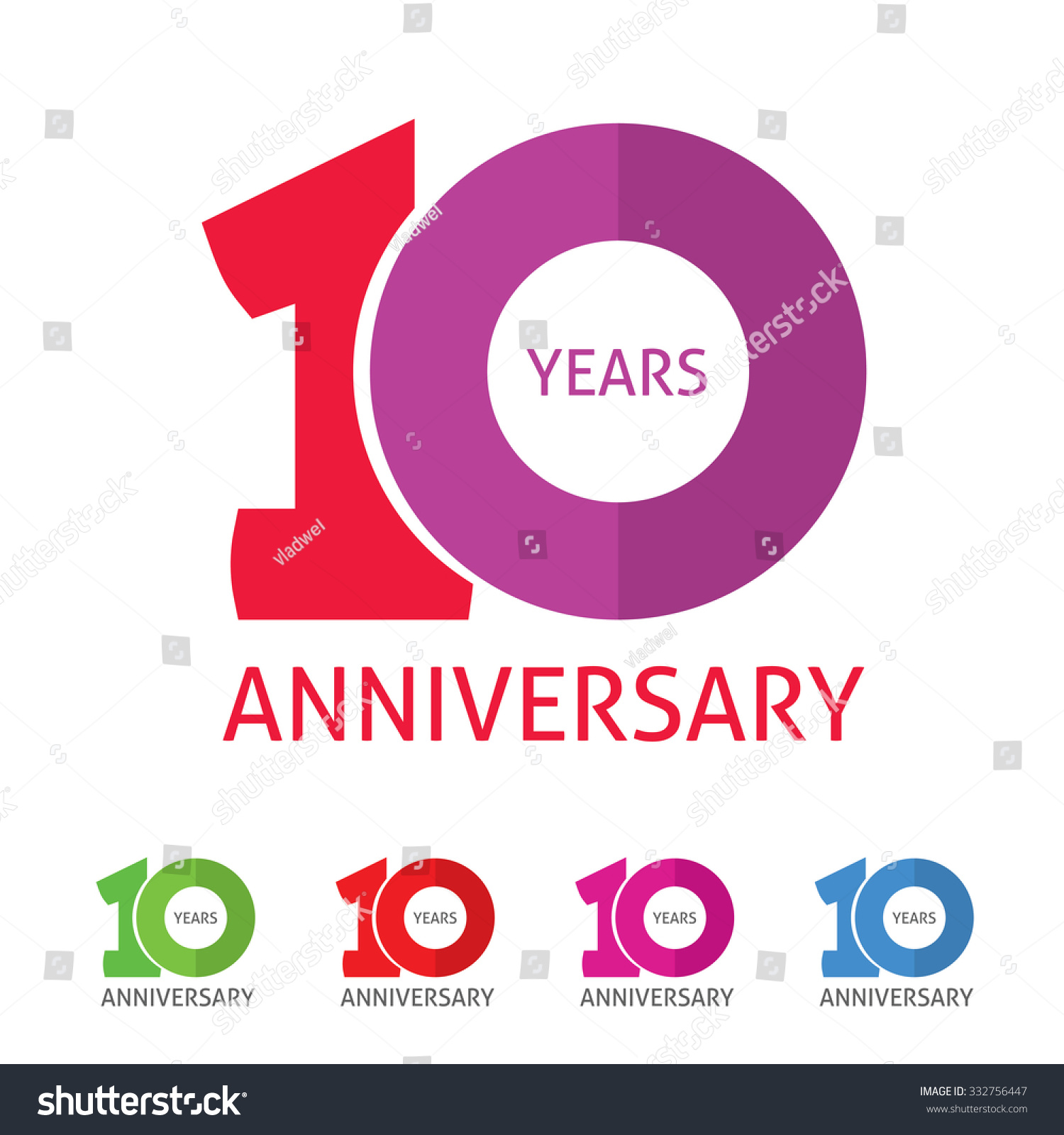 Th anniversary logo template shadow on stock vector