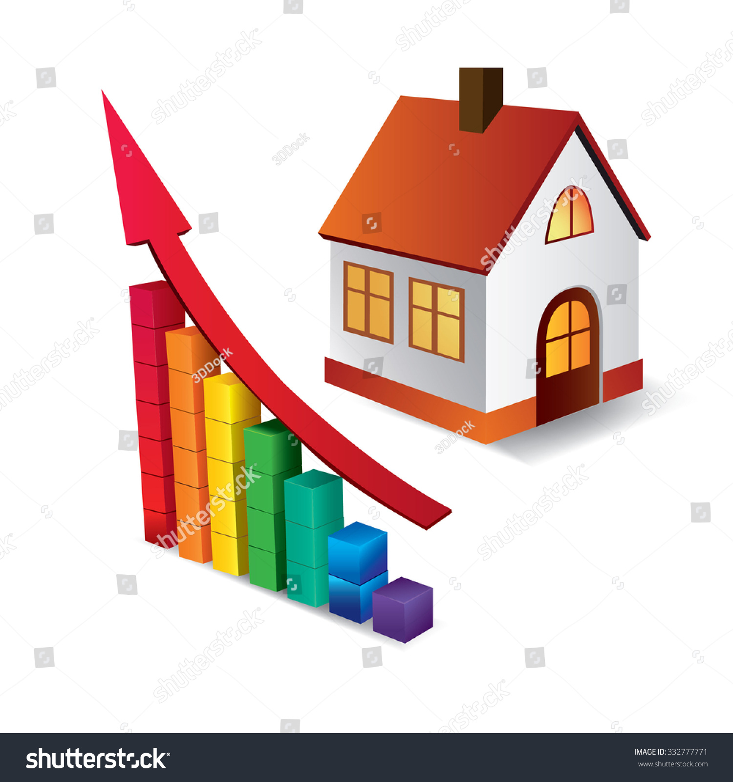 Chart Growth Real Estate Market Building Stock Vector Royalty Free 332777771