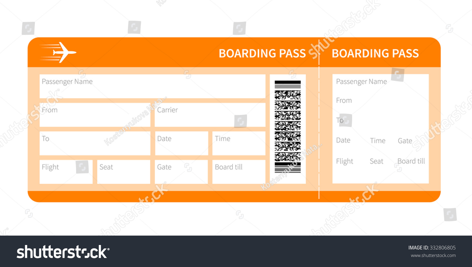 Airplane Ticket Blank Space Yellow Boarding Stock Vector ...