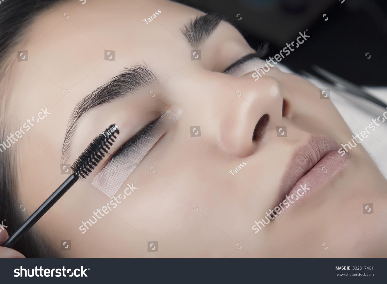 Japanese Eyelash Extensions Long Eyelashes Beautiful Stock Photo