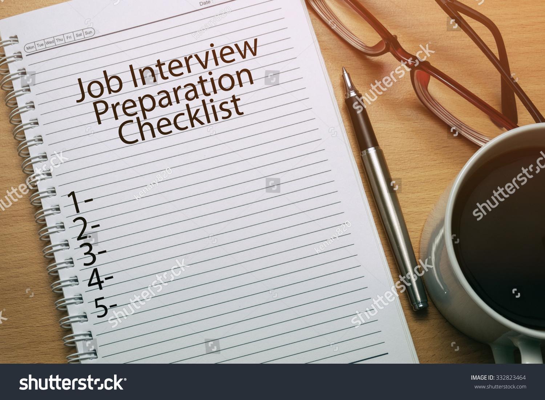 royalty job interview preparation checklist stock job interview preparation checklist written on notebook business conceptual 332823464