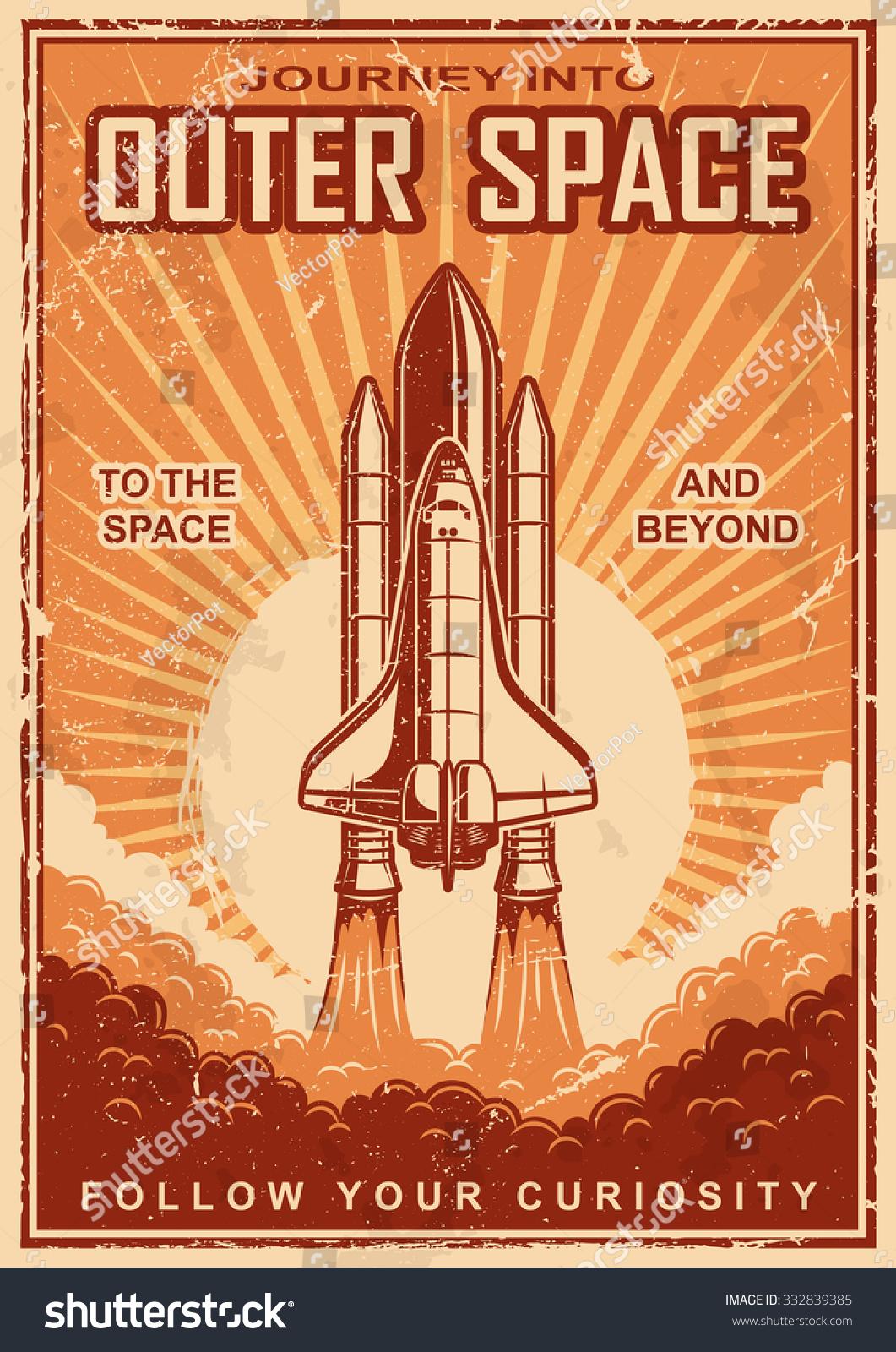 vintage poster shuttle launch on grunge stock vector 332839385 shutterstock. Black Bedroom Furniture Sets. Home Design Ideas