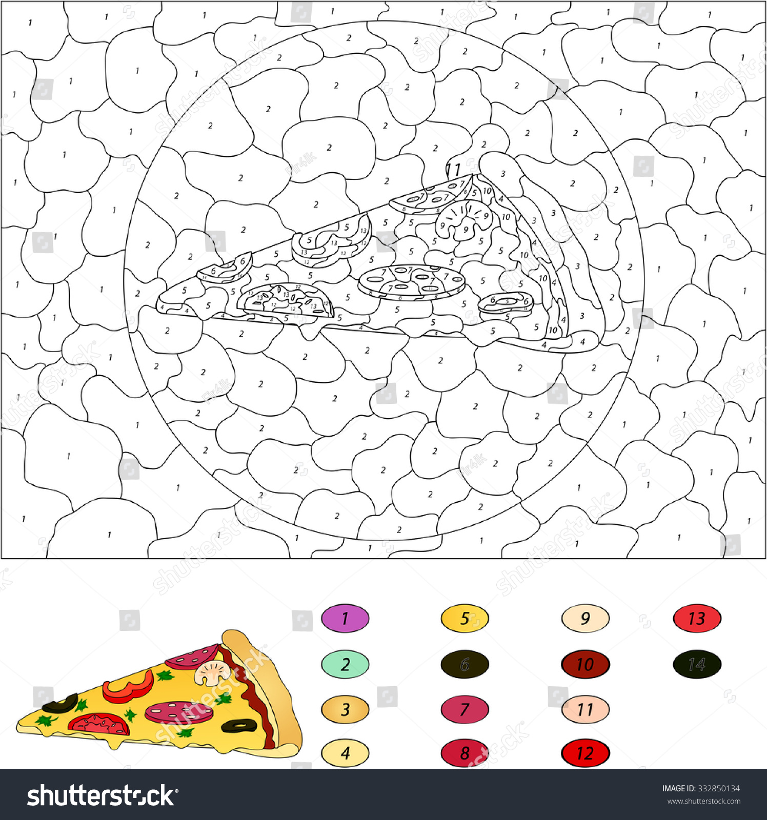 Game color by numbers - Color By Number Educational Game For Kids Pizza With Salami Tomato Mushrooms