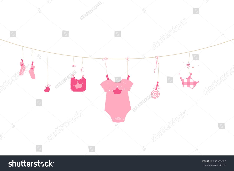 Newborn baby girl symbols baby arrival stock vector 332865437 newborn baby girl symbols baby arrival greeting card vector m4hsunfo