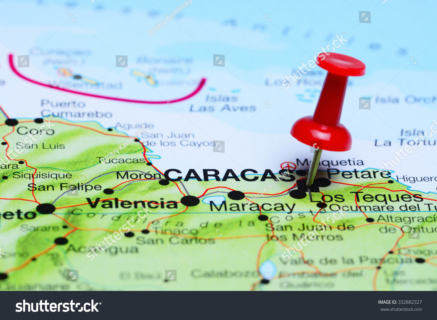 Los Cayos Florida Map.Caracas Pinned On Map America Stock Photo Edit Now 332882327