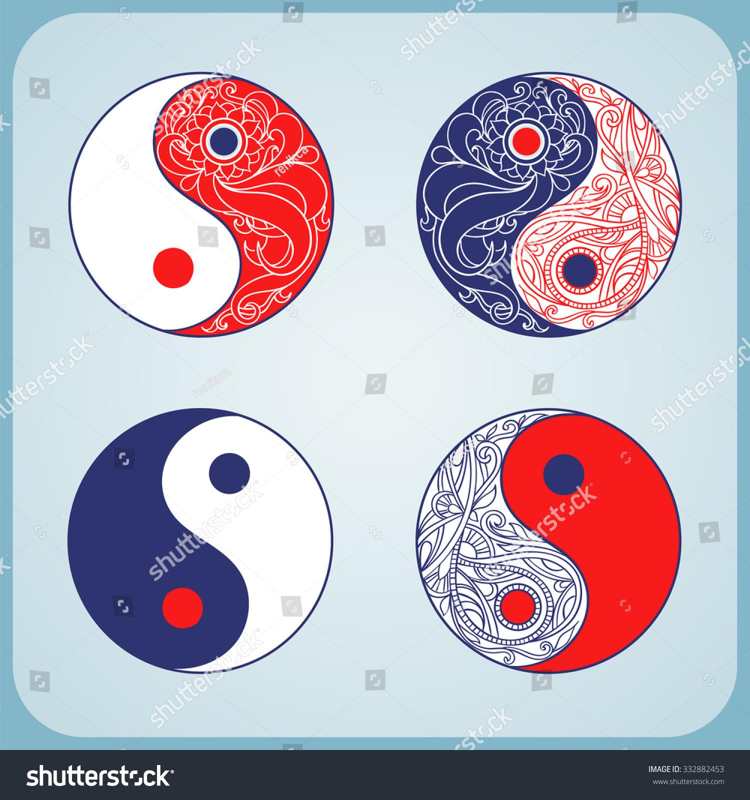 Yin yang set symbols allegory opposites stock vector 332882453 yin yang set of symbols as an allegory of opposites and philosophy of life buycottarizona
