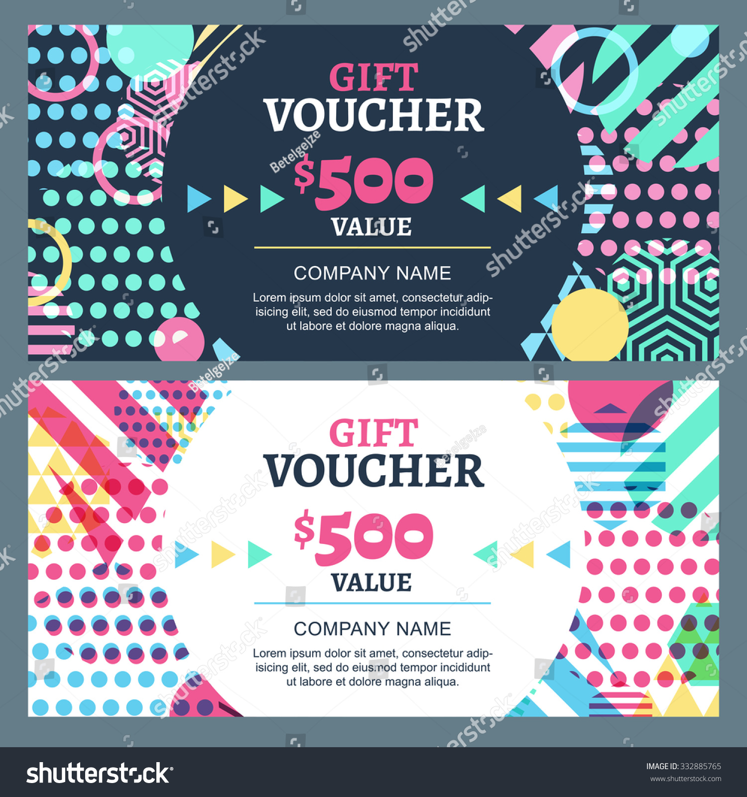 Vector gift voucher with colorful… Stock Photo 332885765