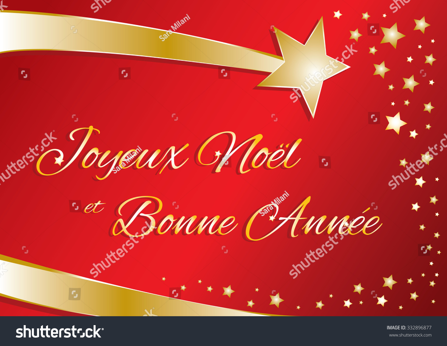 vector greeting card merry christmas and happy new year in french red and gold with calligraphic
