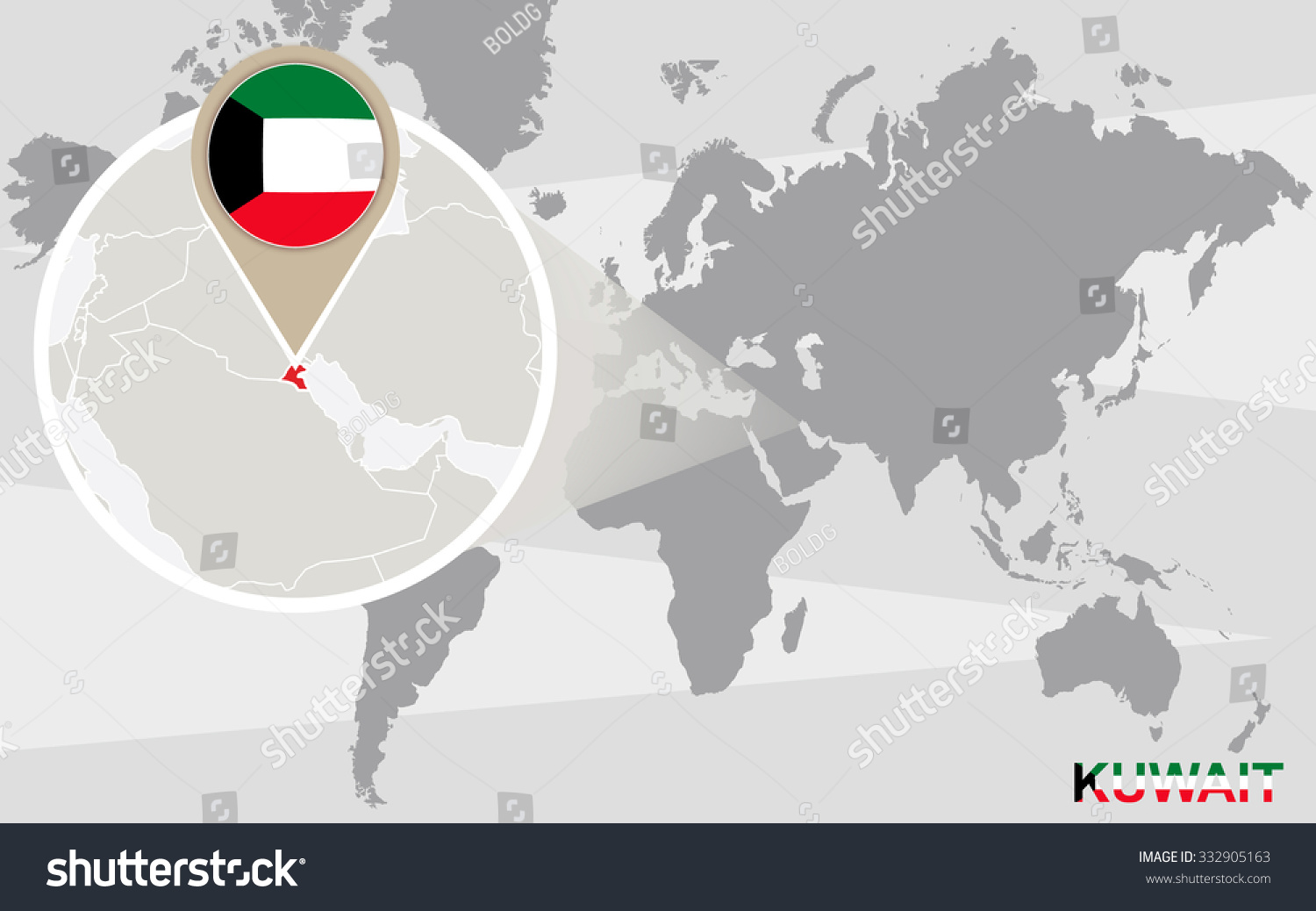 World map magnified kuwait kuwait flag stock illustration world map with magnified kuwait kuwait flag and map rasterized copy gumiabroncs Image collections