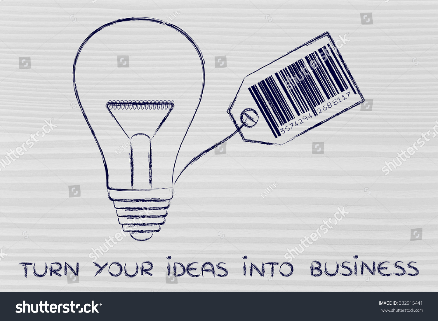 Royalty Free Stock Illustration Of Turn Your Ideas Into Business Incandescent Light Bulb Diagram Group Picture Image By Tag Lightbulb With Price And Bar Code