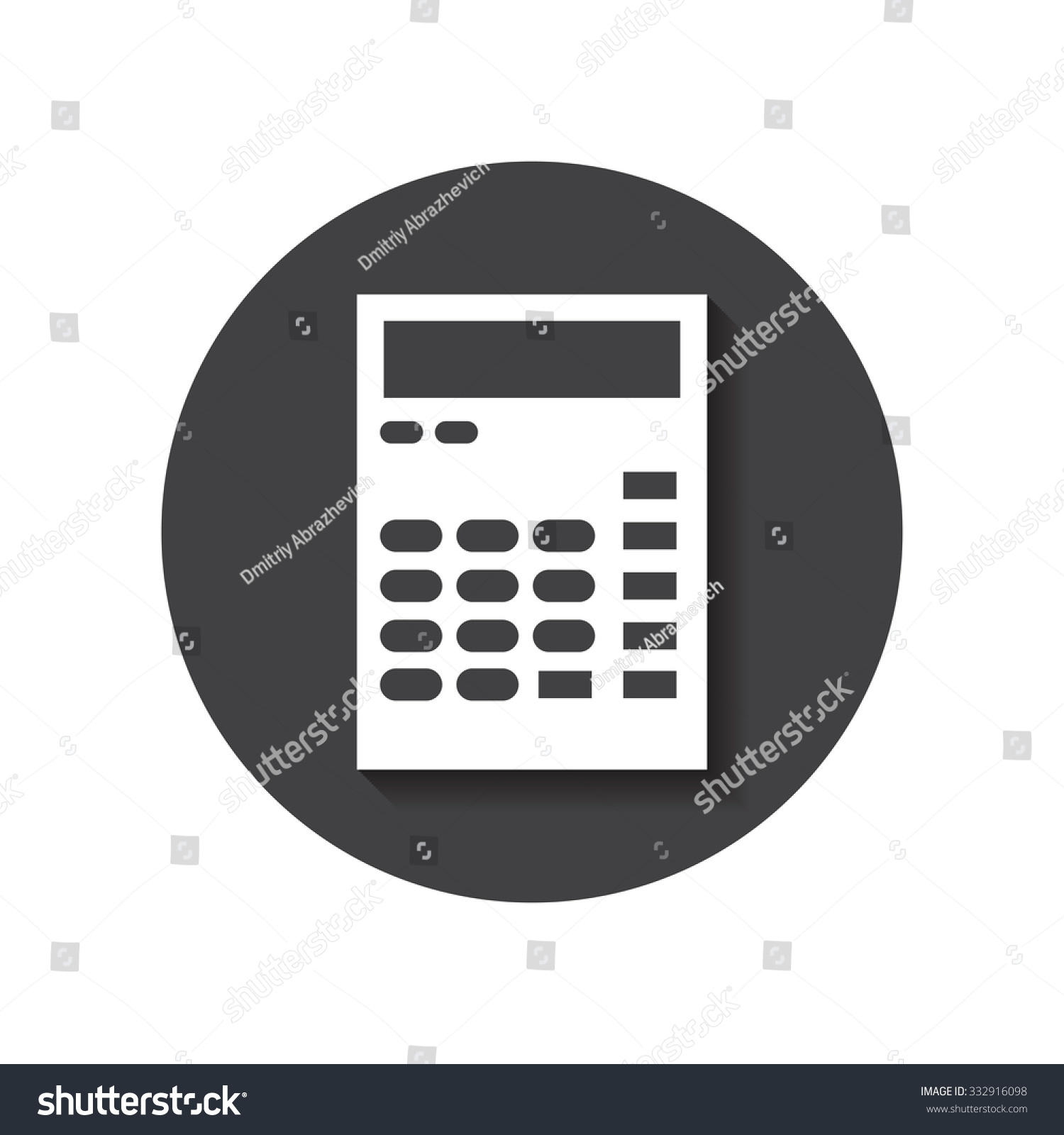 Flat Designed Round Calculator Icon Business Stock Illustration Logic Diagram Concept Idea