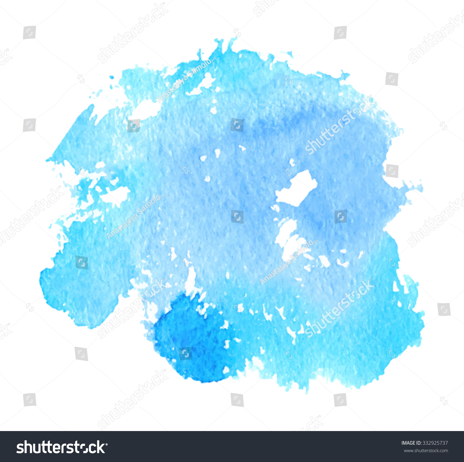 Blue Violet Watercolor Brush Painted Isolated Stock Vector ...