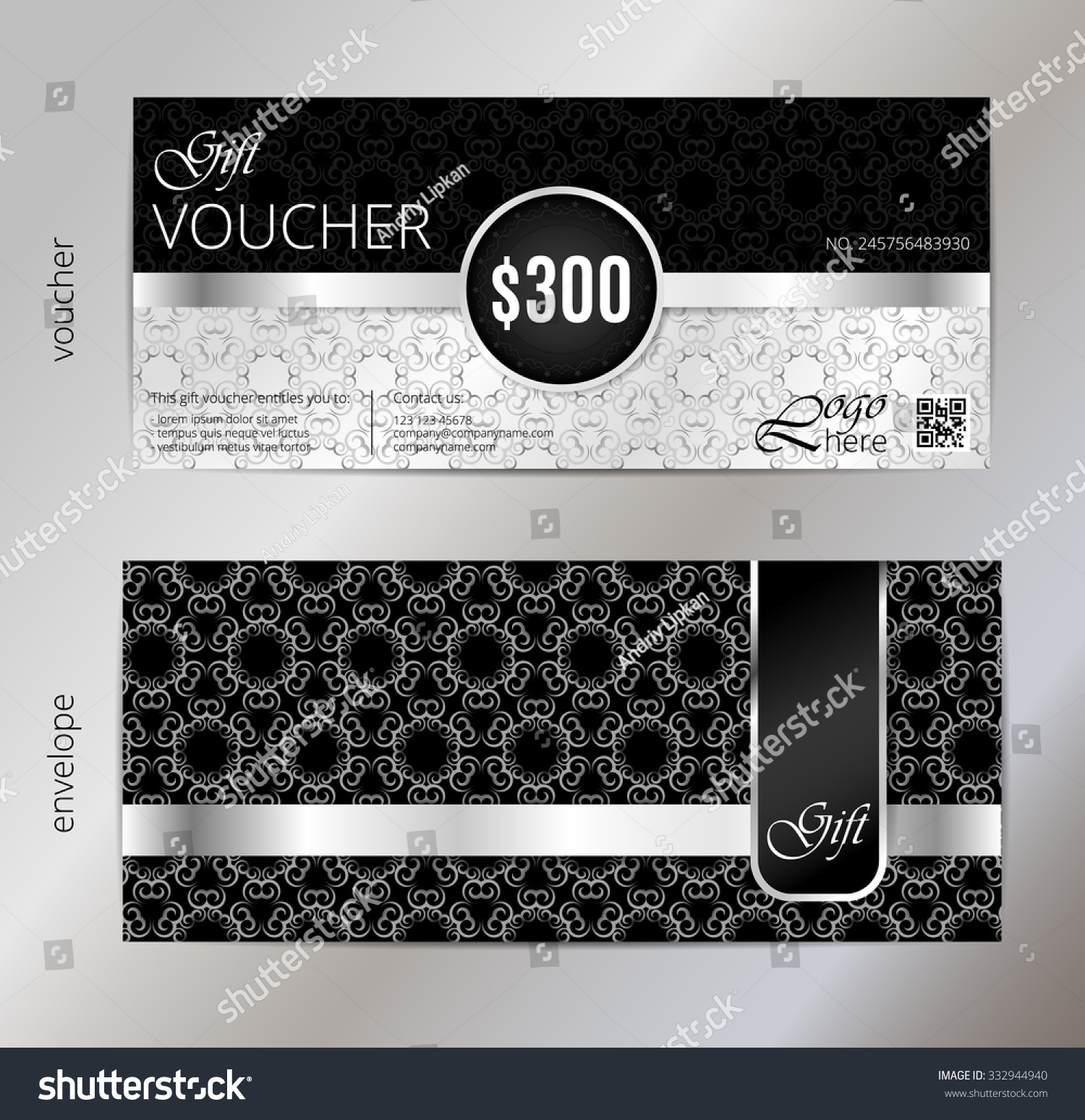 Silver vip club card luxury gift stock vector 332944940 shutterstock silver vip club card luxury gift certificate gift voucher vector illustration black and negle Gallery