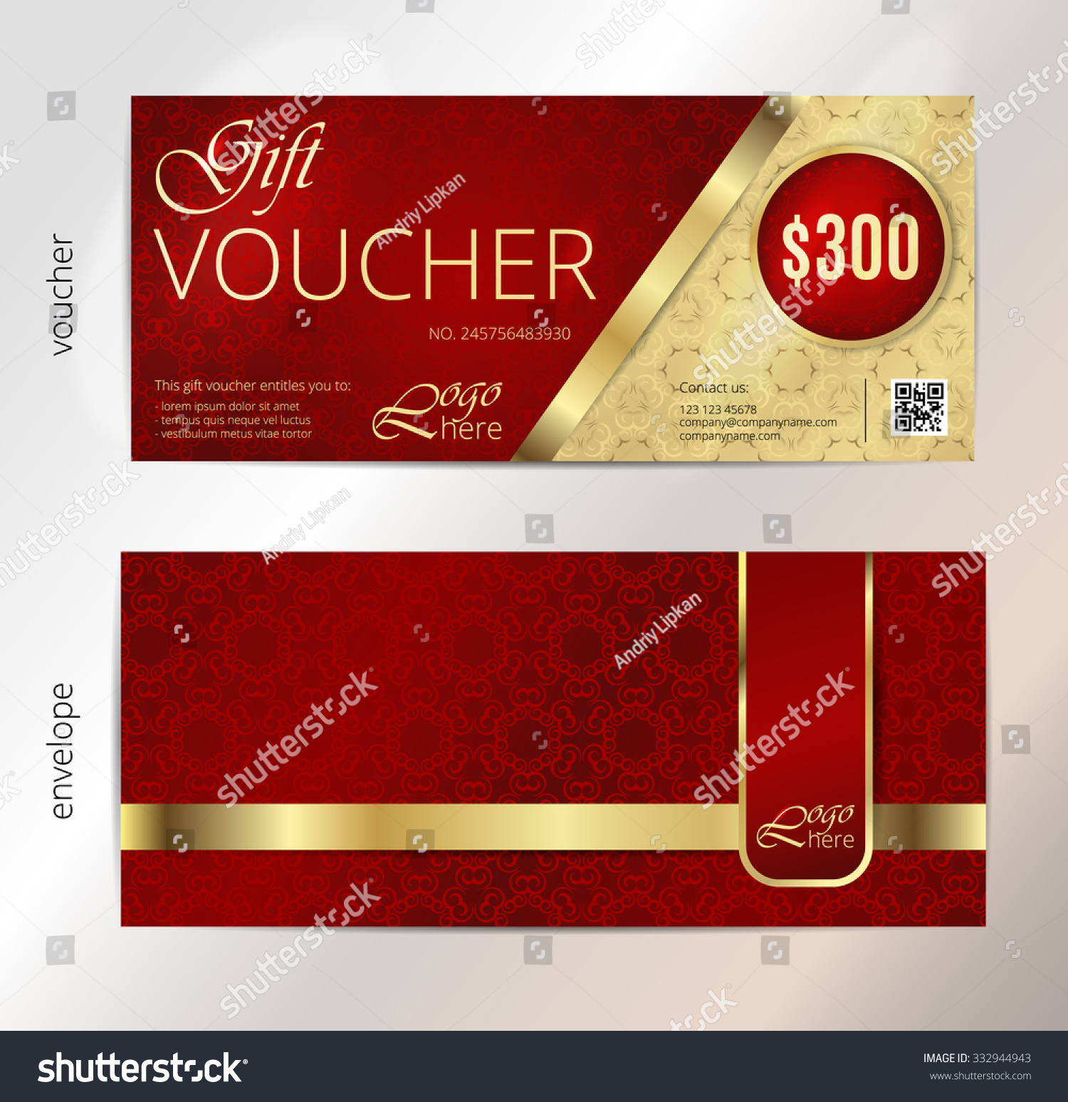 Voucher Gift Certificate Coupon Template Vintage Stock Vector