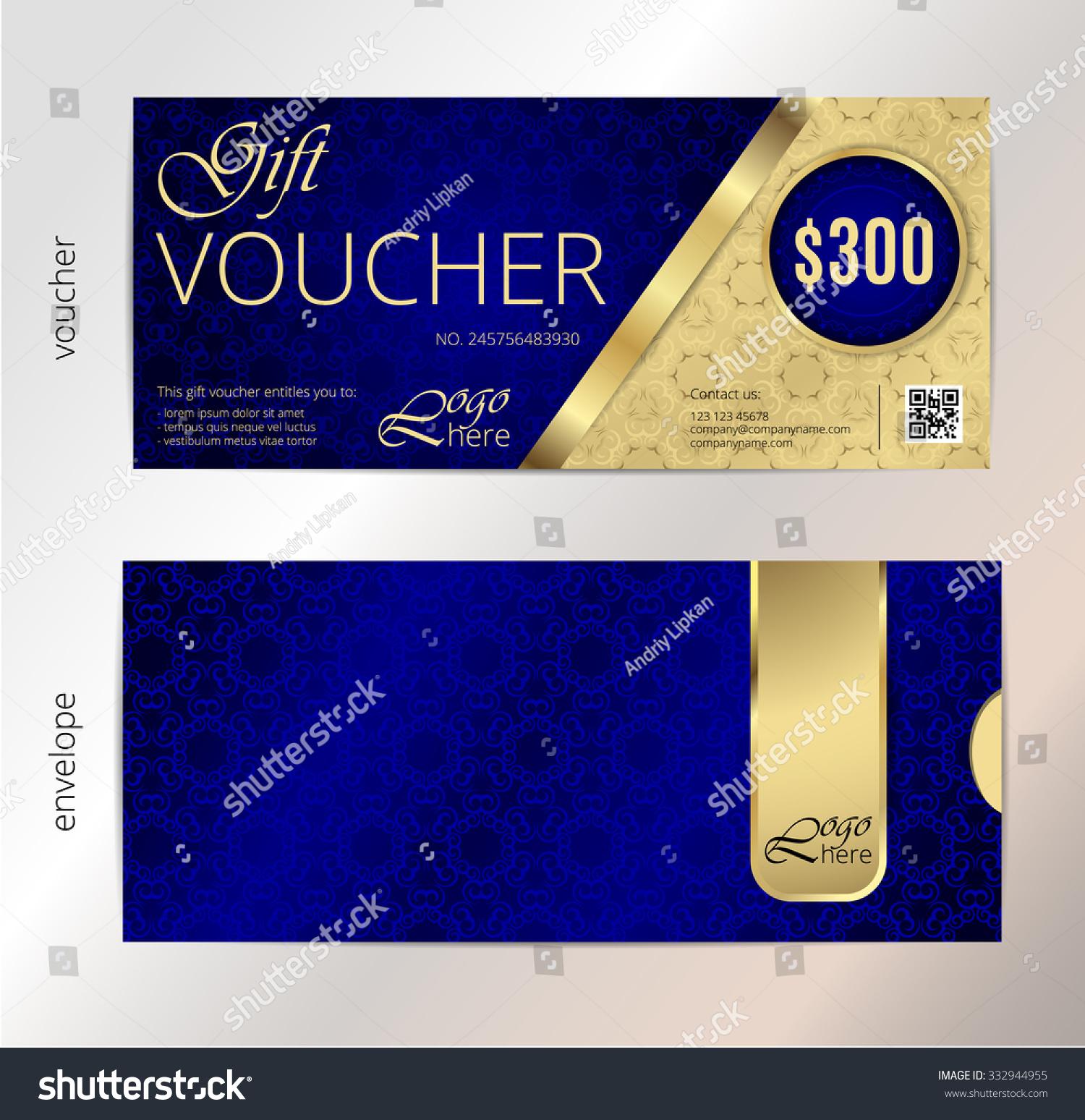 Voucher Gift Certificate Coupon Template Border Stock Vektorgrafik