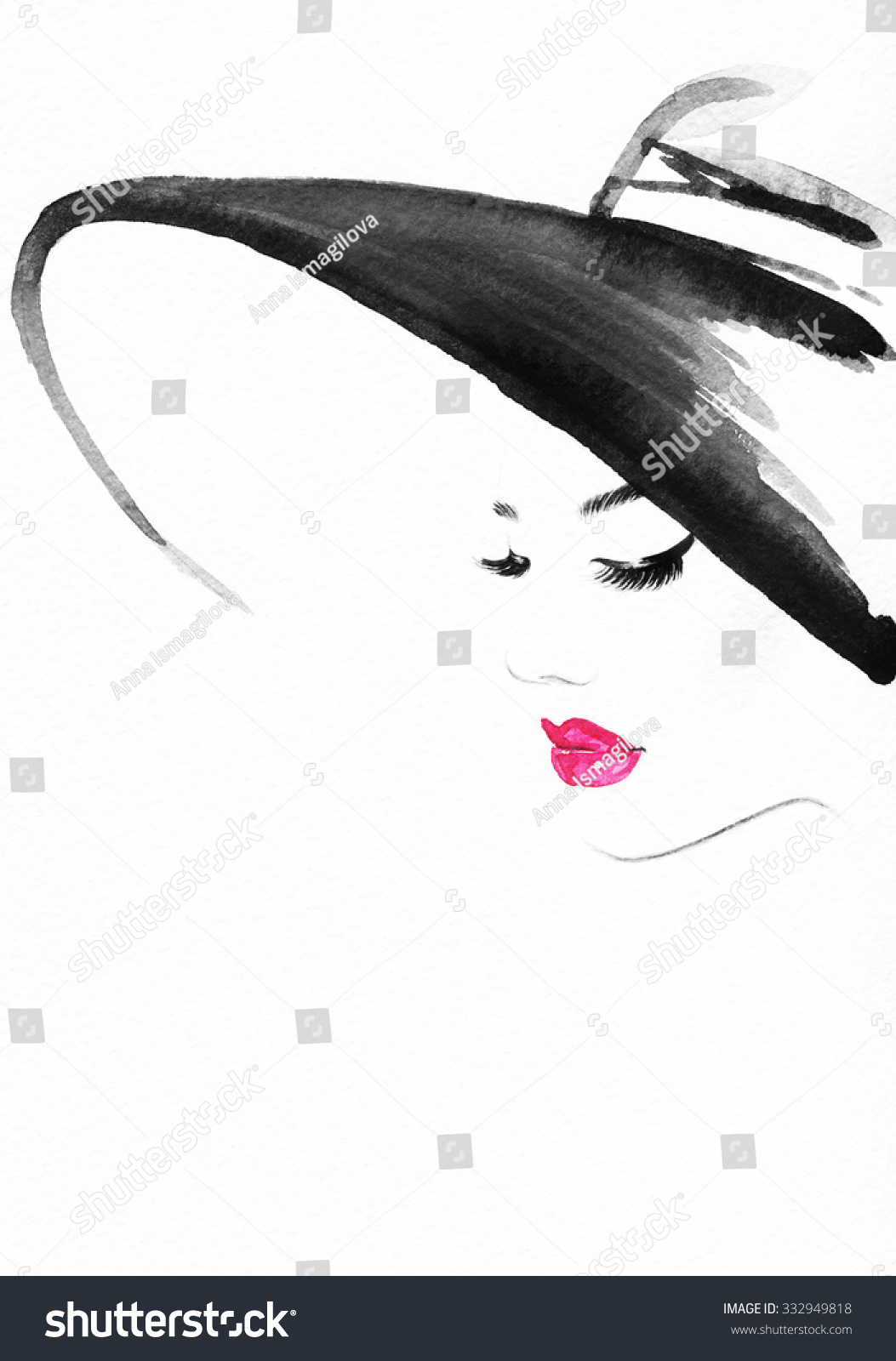 Beautiful face woman portrait with hat abstract watercolor fashion background