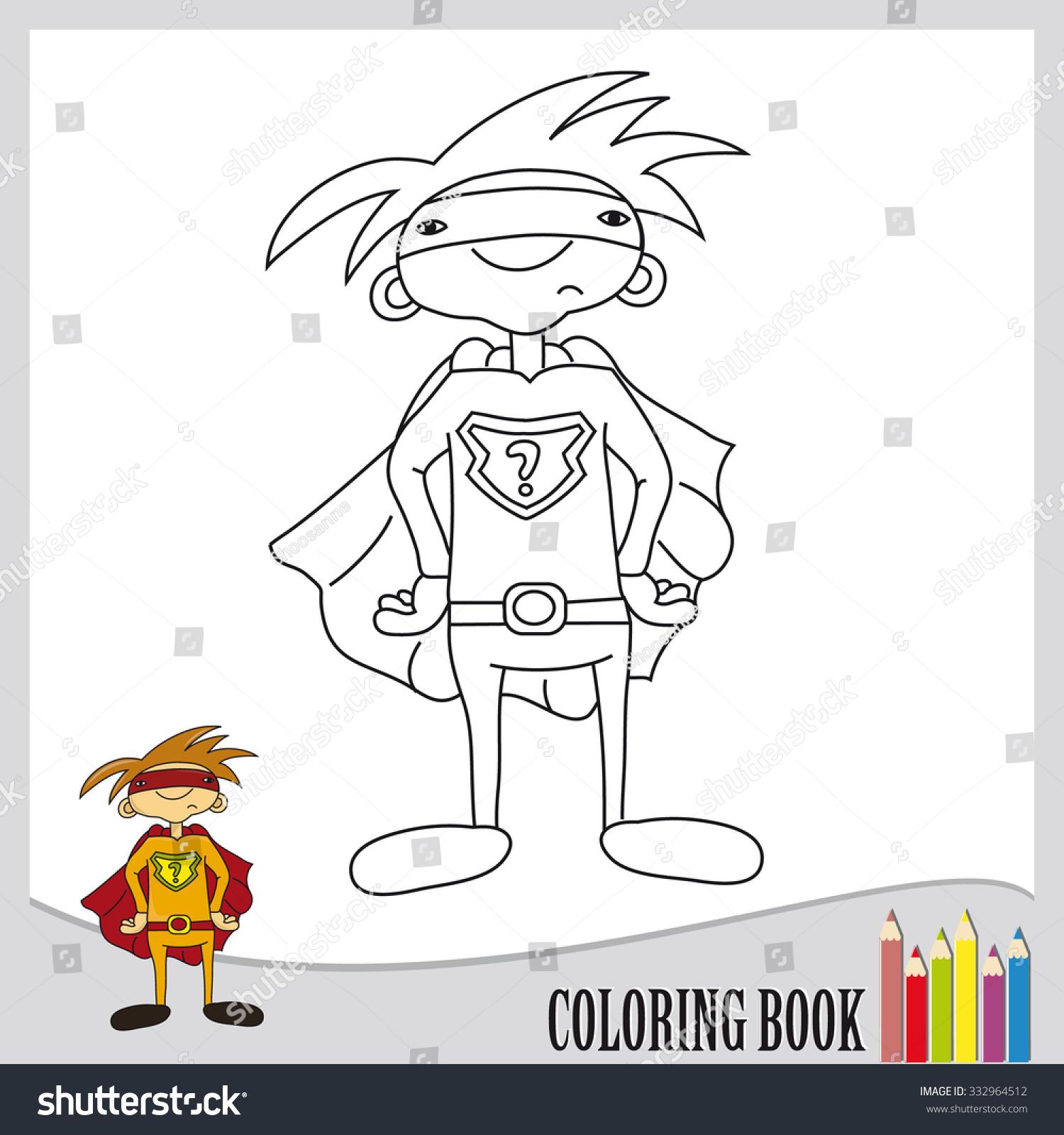 Coloring Book Superhero Orange Outfit Vector Stock