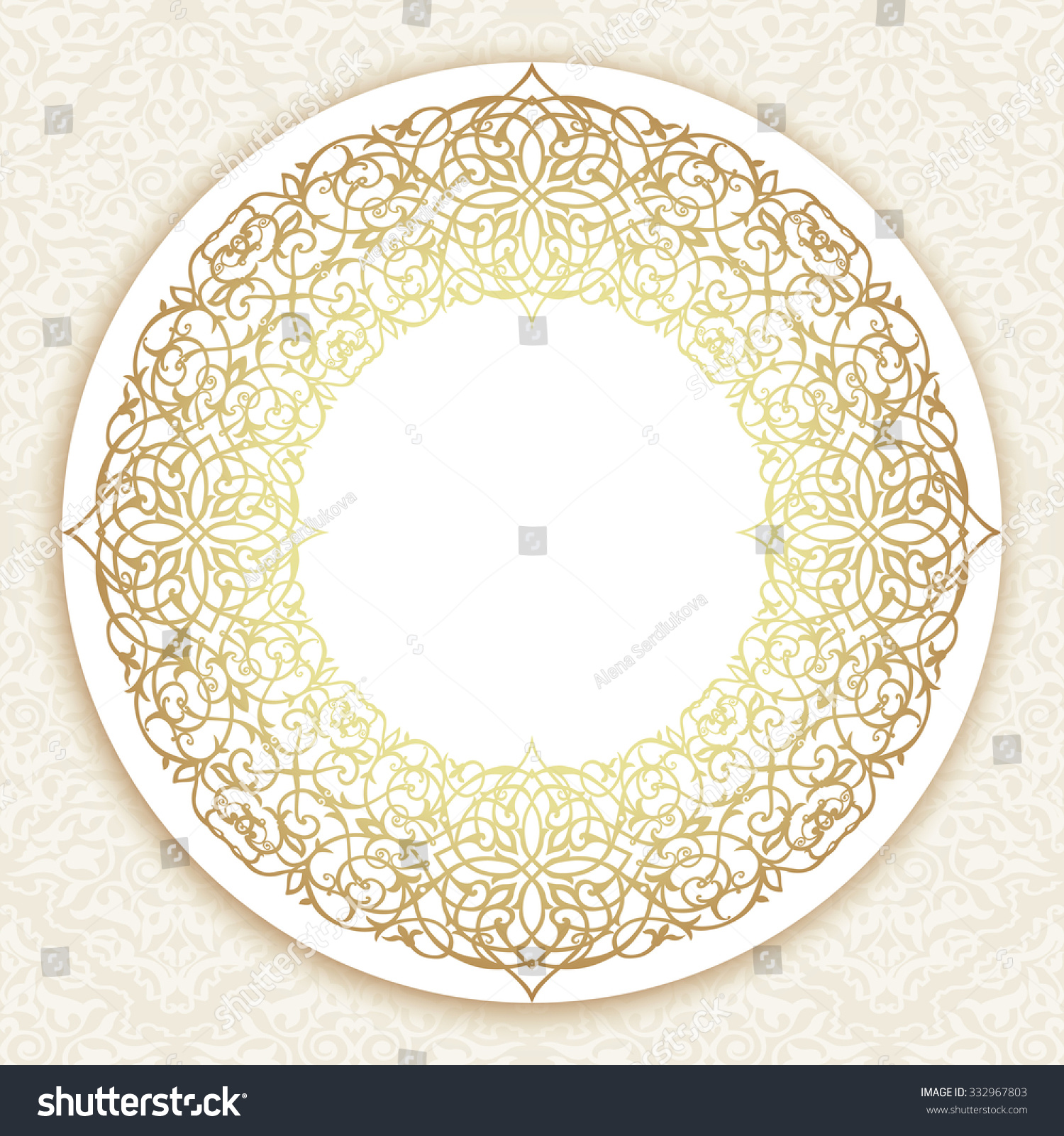 gold round border damask motif ornamental stock vector 332967803
