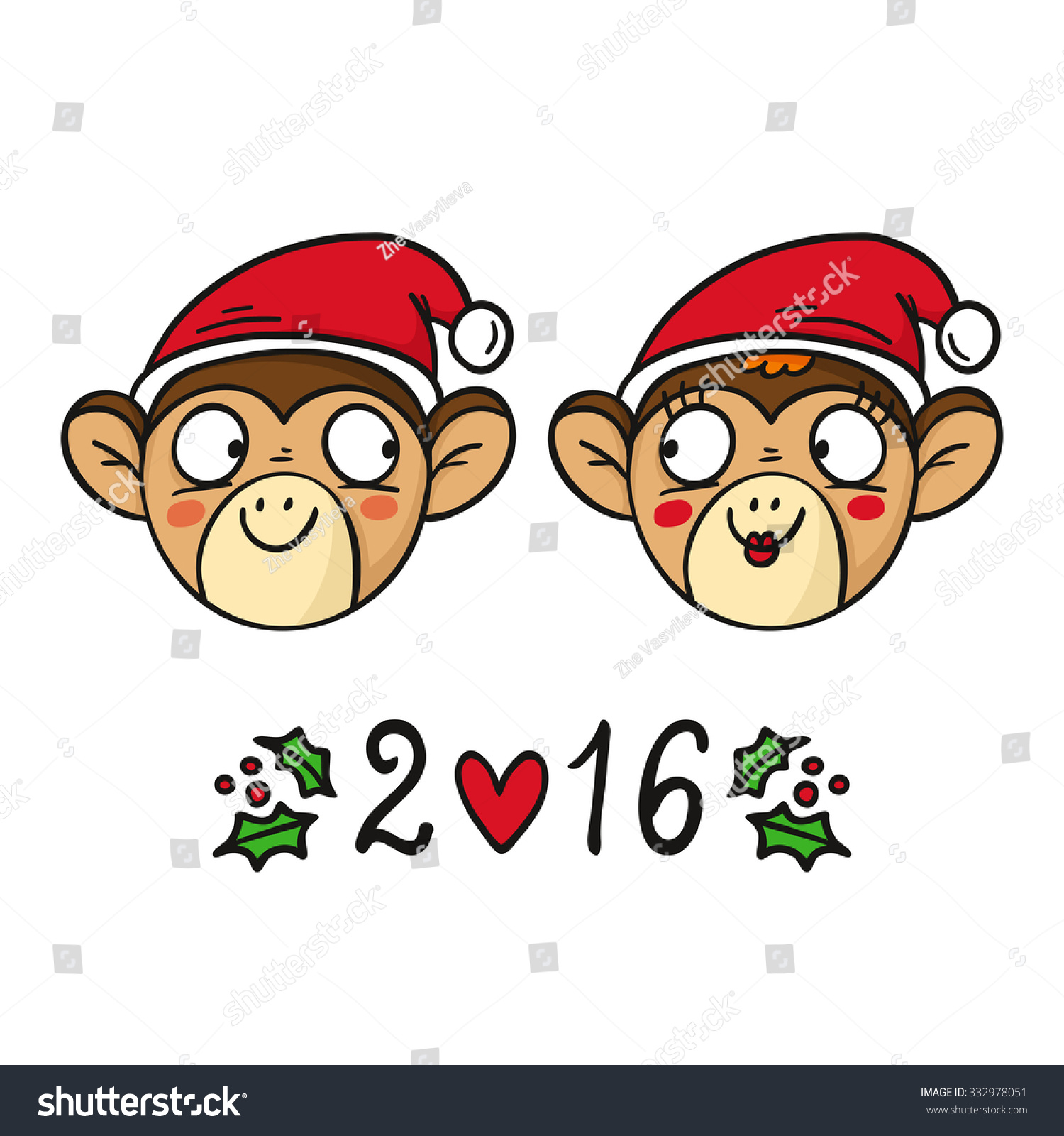 monkey couple in santas hats chinese new year 2016 symbol cute vector animal characters - Chinese New Year 2016 Animal