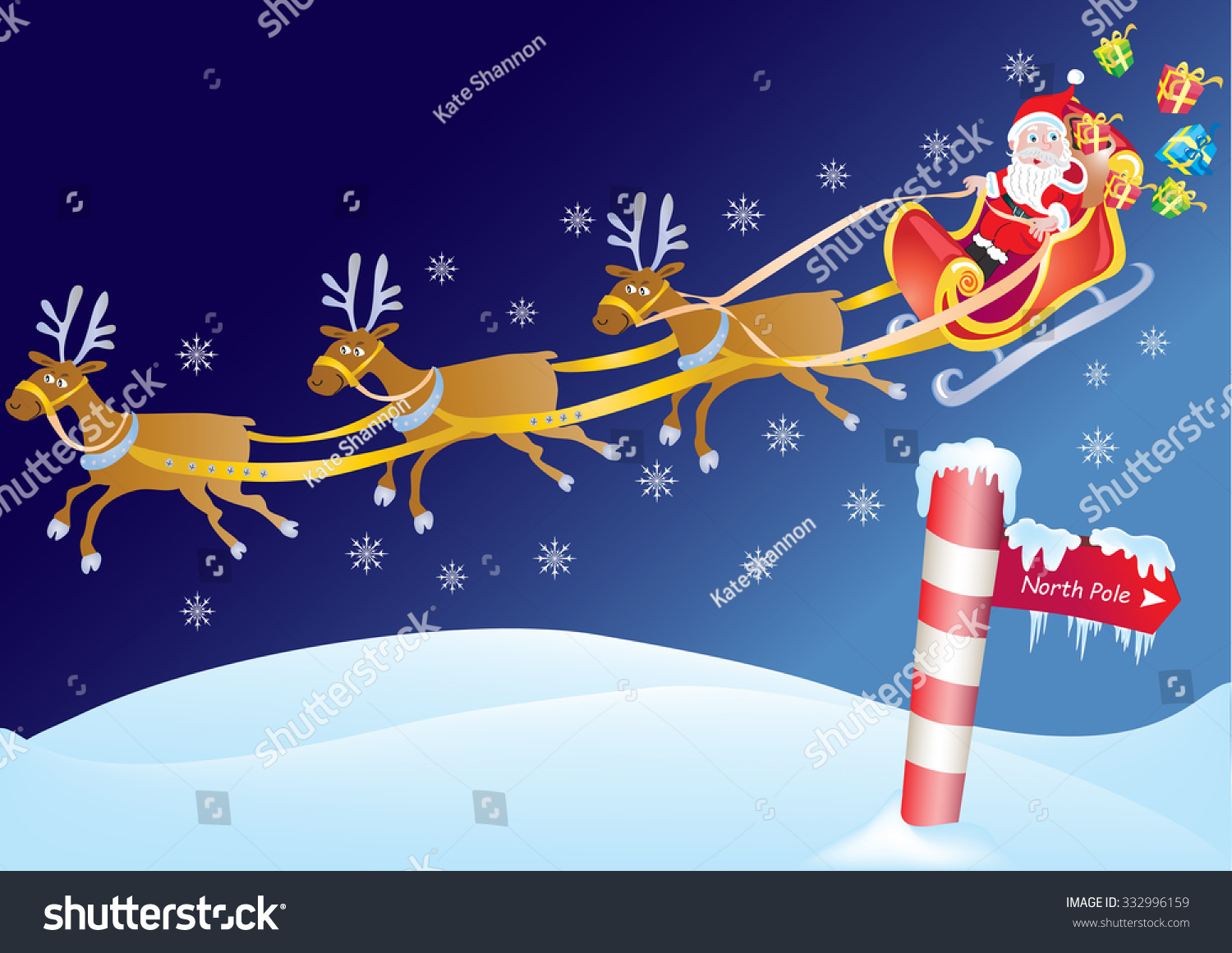 Father Christmas On Sleigh North Pole Stock Vector (Royalty Free ...