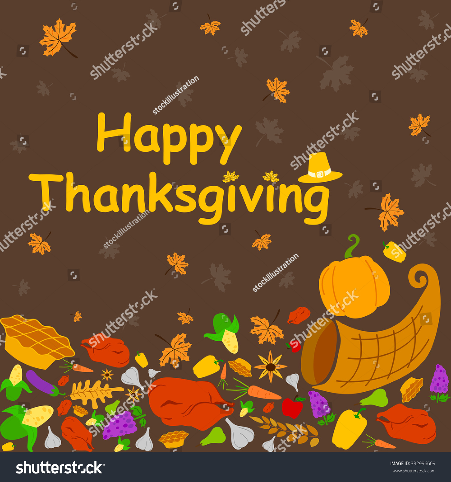 Happy Thanksgiving Holiday Greeting Card Vector Stock Vector