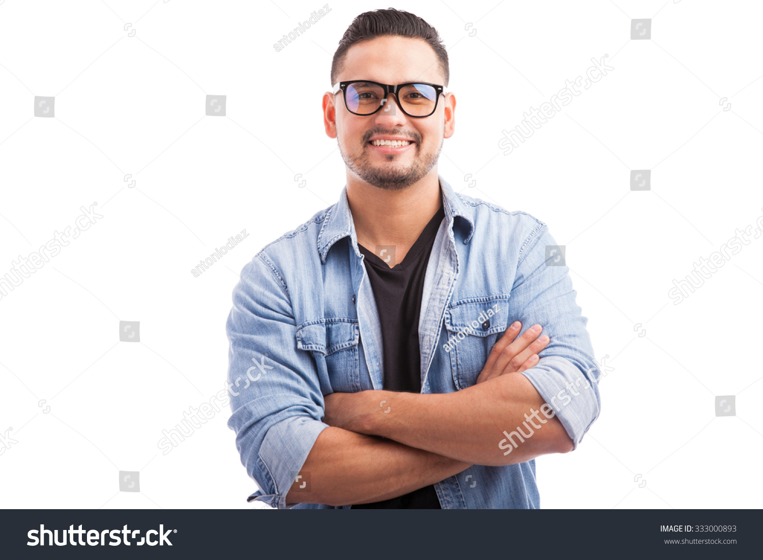 Latin Hipster Guy Wearing Glasses His Stock Photo ...